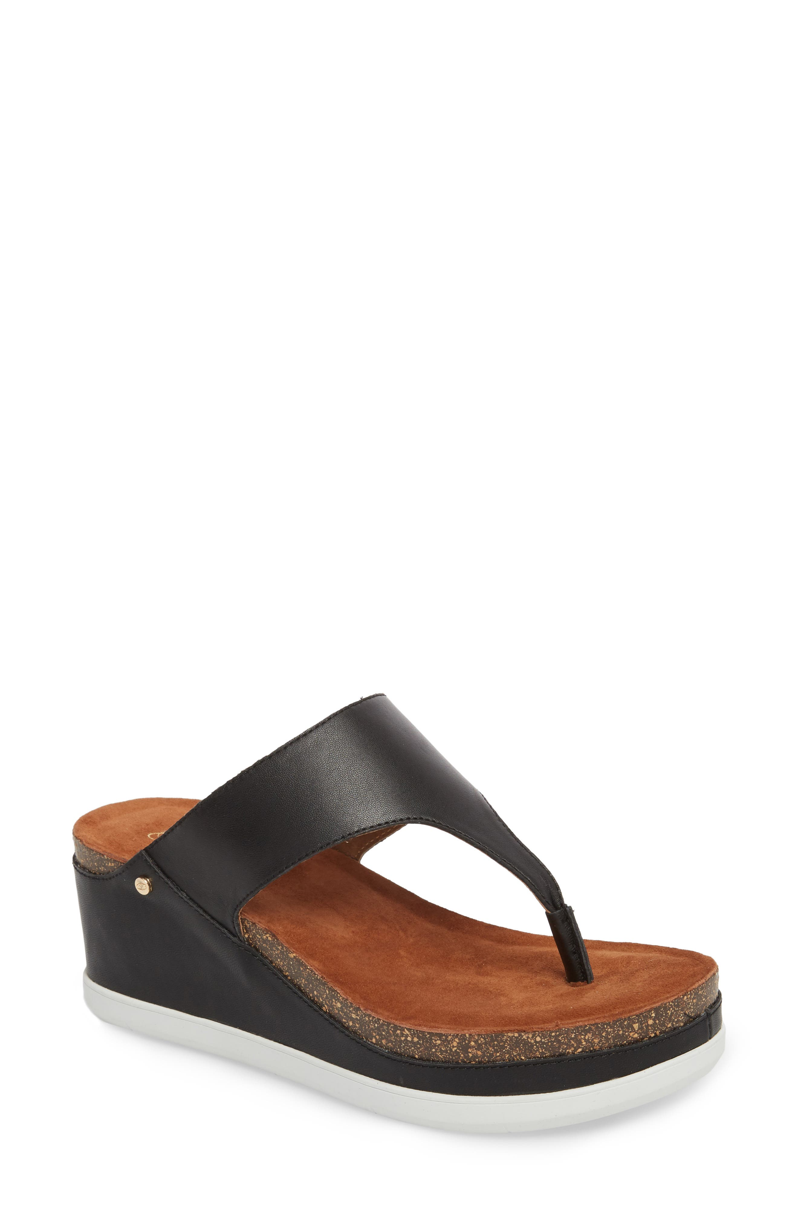 Paige Wedge Mule,                         Main,                         color, BLACK LEATHER