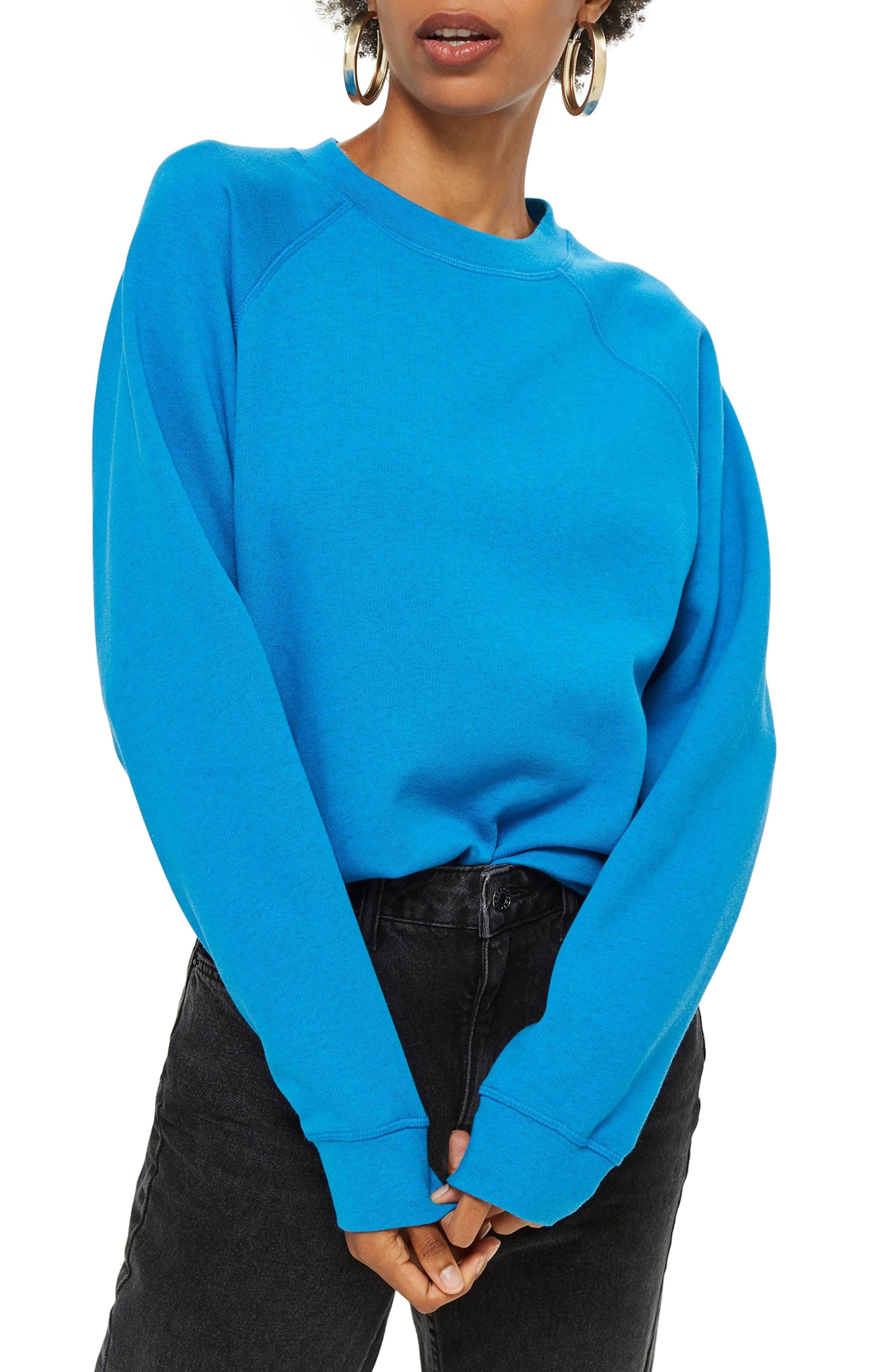 Crewneck Sweatshirt,                         Main,                         color, BLUE