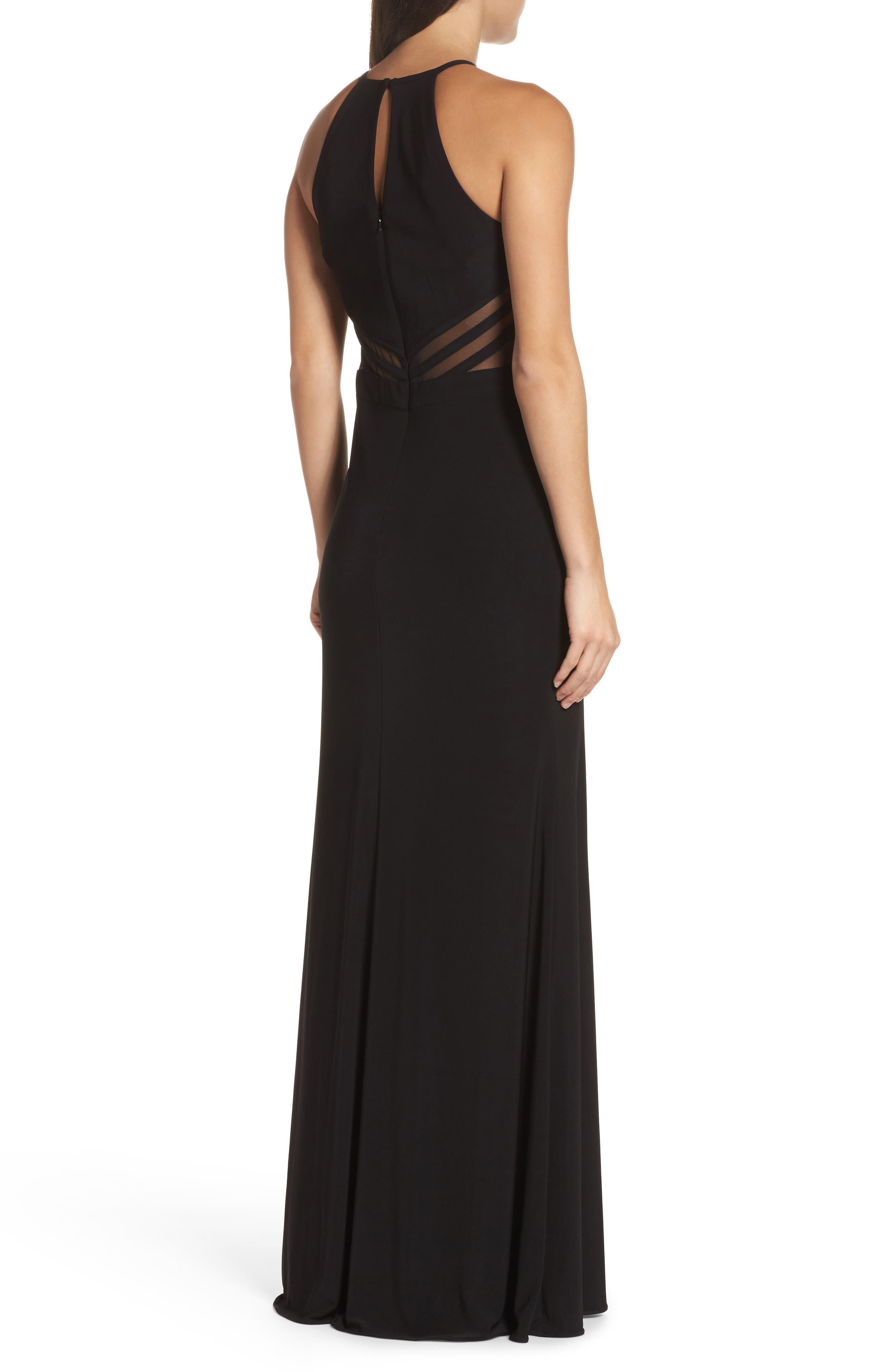 Illusion Waist Jersey Halter Dress,                             Alternate thumbnail 2, color,                             001