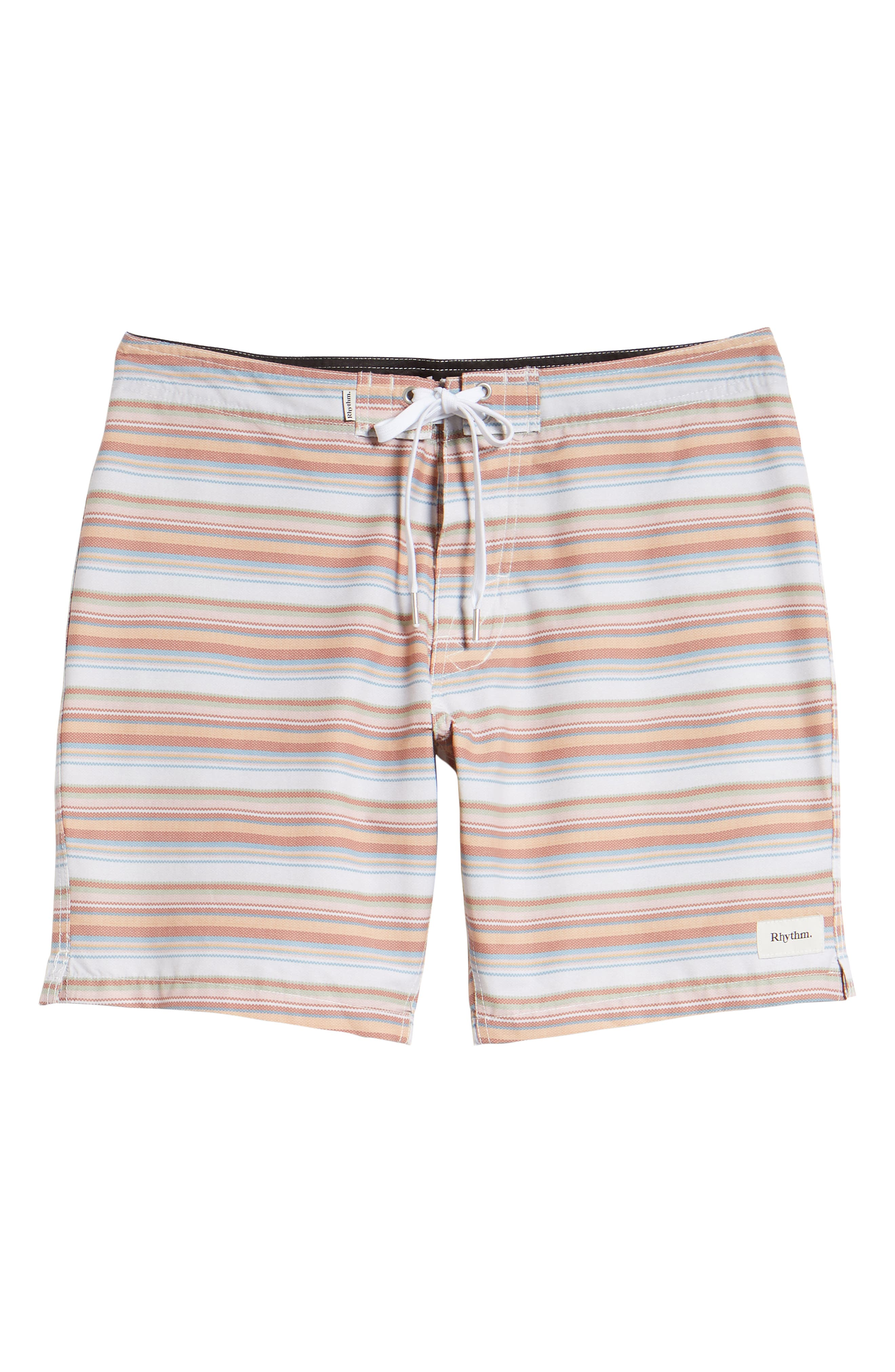 Tuscan Stripe Swim Trunks,                             Alternate thumbnail 6, color,                             TERRACOTTA