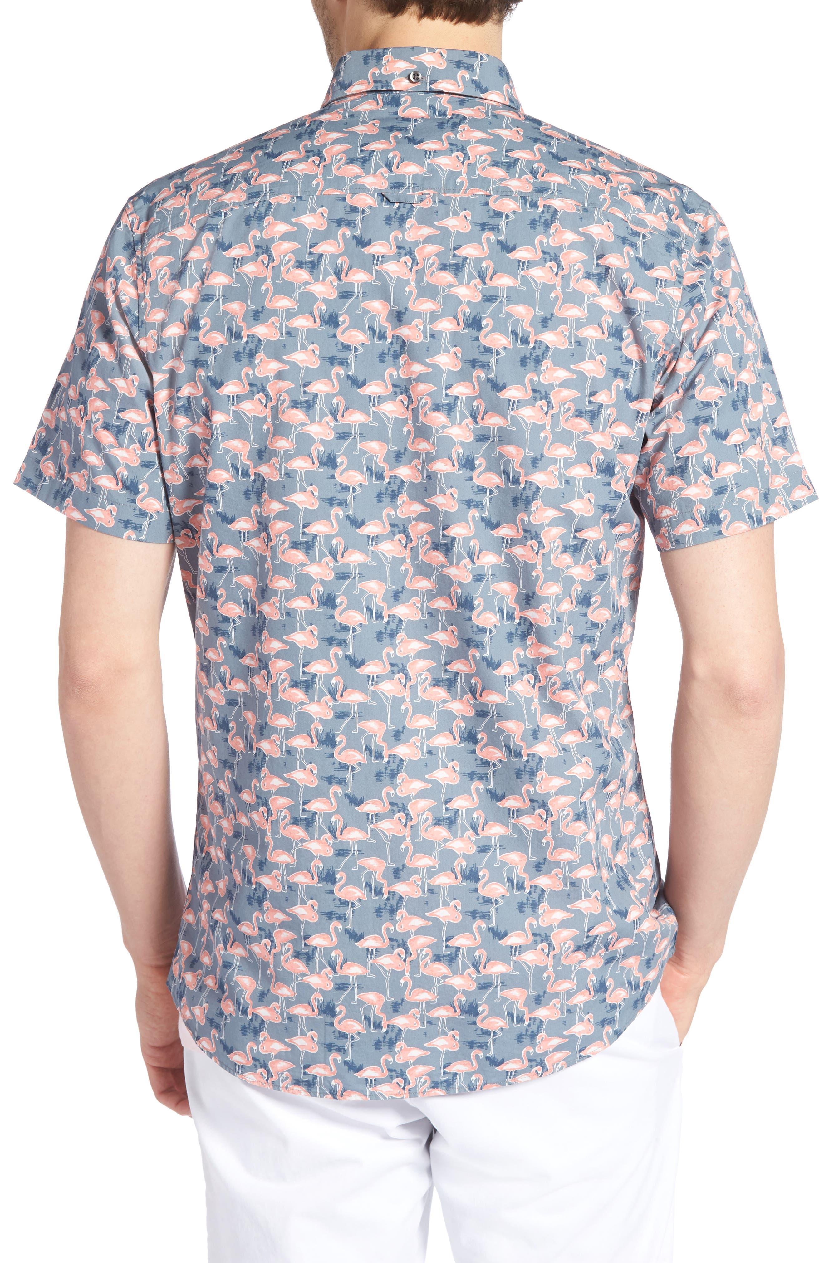 Trim Fit Print Short Sleeve Sport Shirt,                             Alternate thumbnail 2, color,                             GREY GRISALLE PINK FLAMINGOS