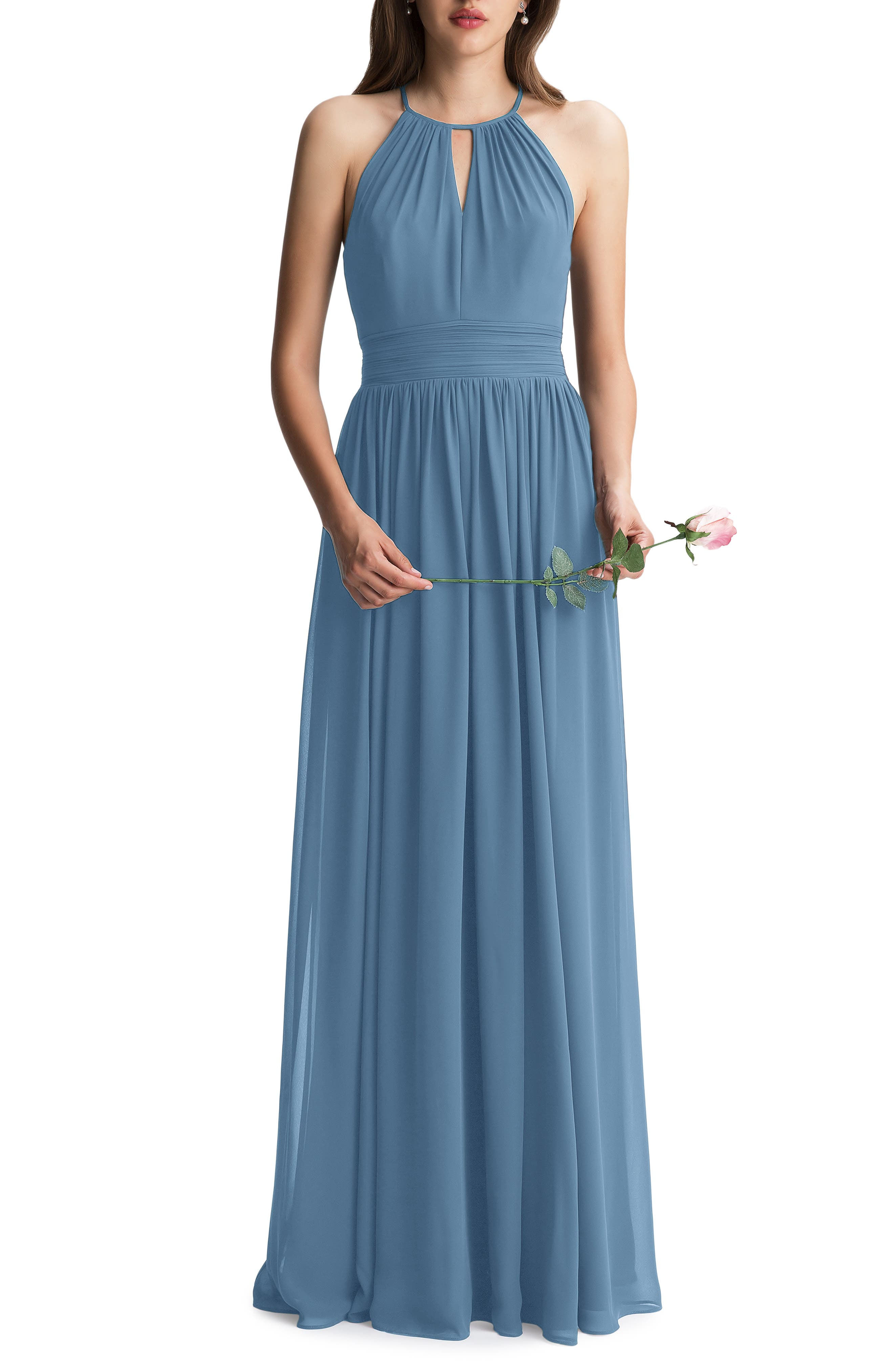 #levkoff Keyhole Chiffon A-Line Gown, Grey