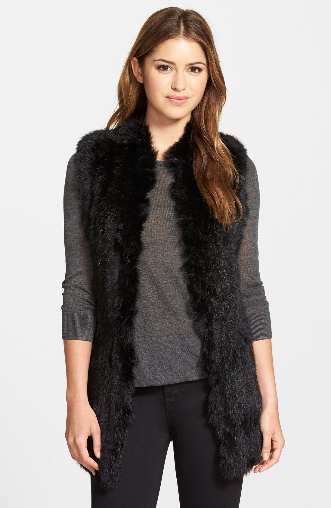 Genuine Rabbit Fur & Knit Vest,                         Main,                         color,