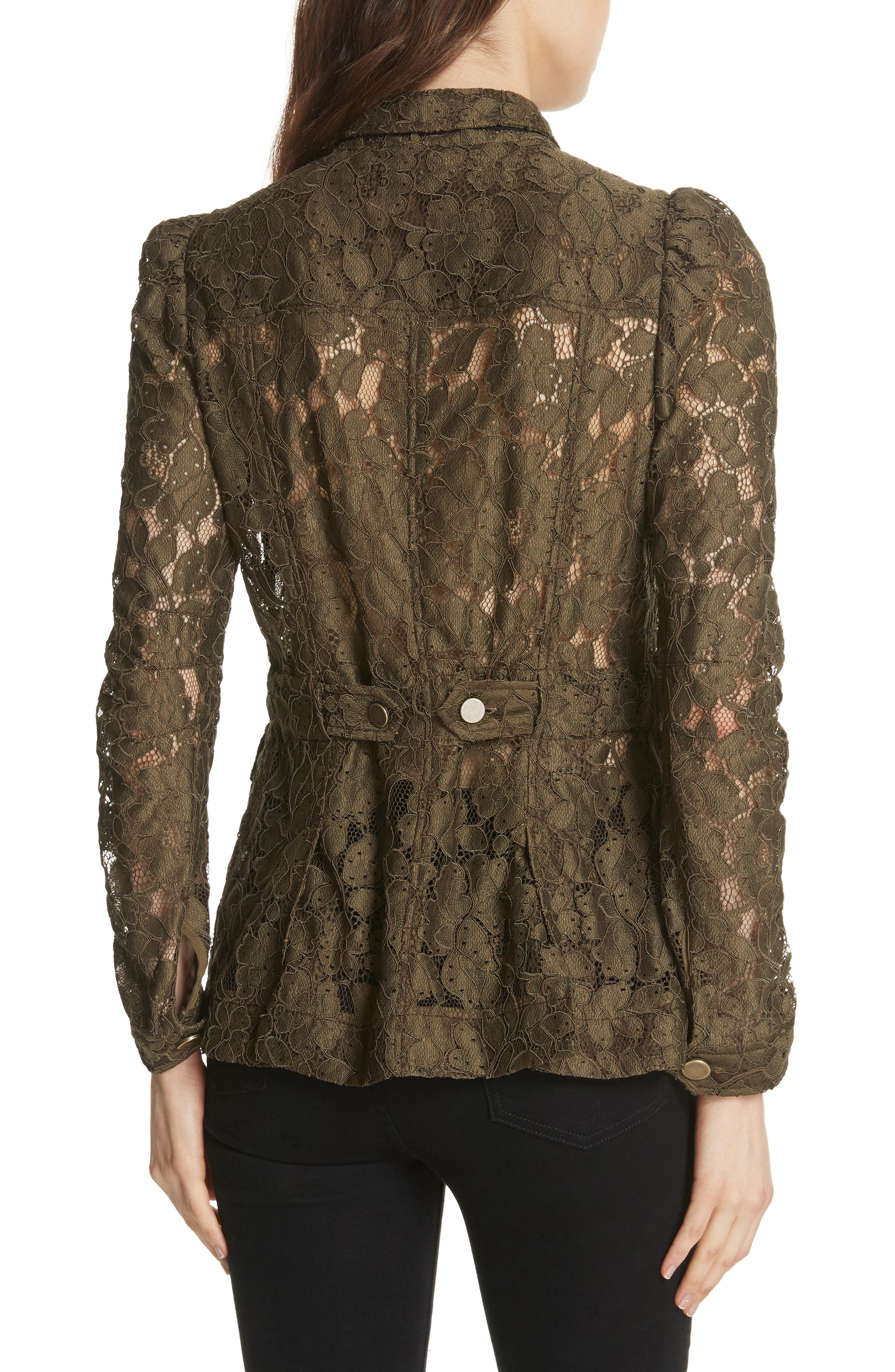 Daniela Tie Neck Lace Army Jacket,                             Alternate thumbnail 2, color,                             310