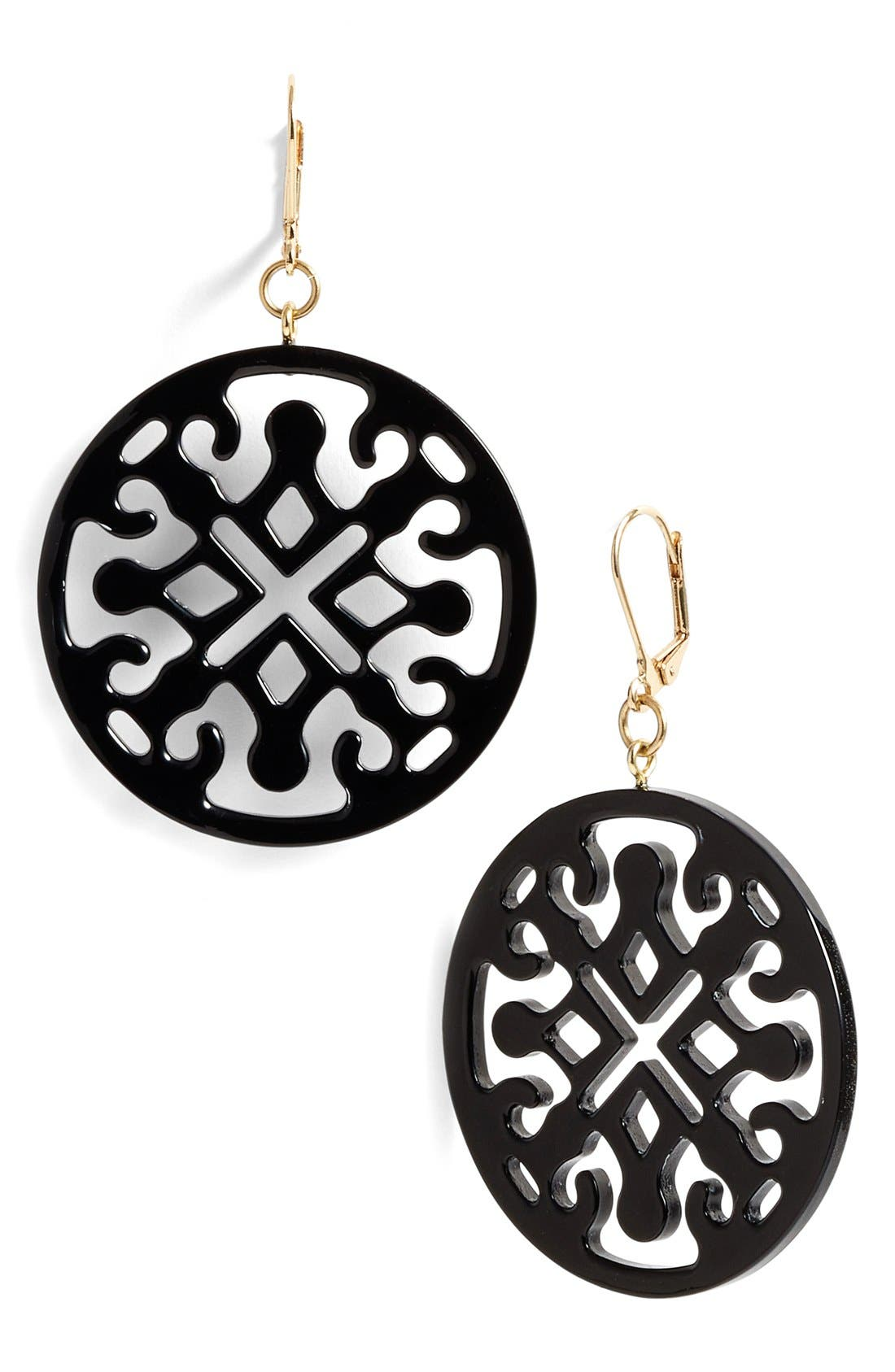 Medallion Filigree Drop Earrings,                             Main thumbnail 1, color,                             001