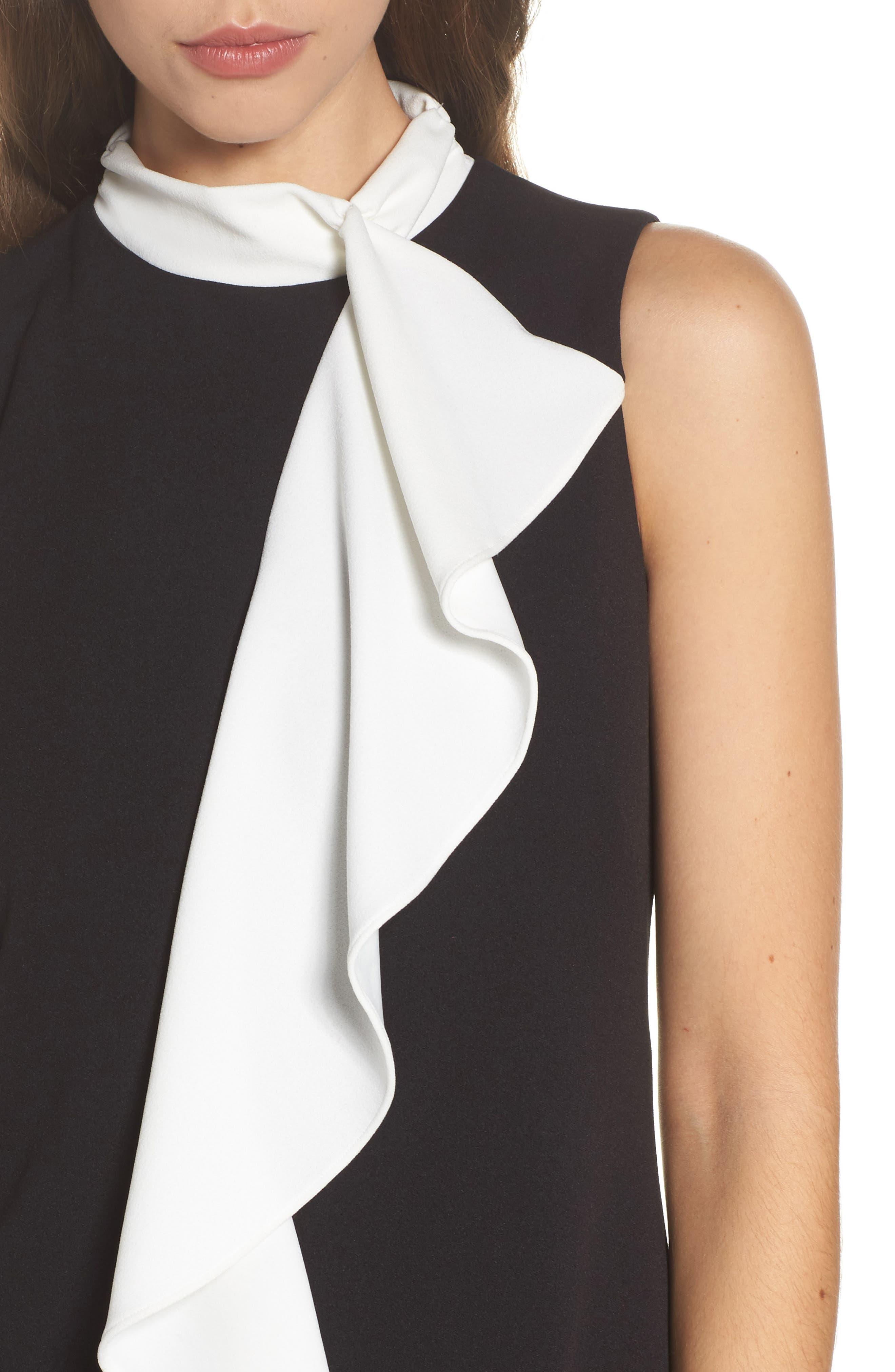 Ruffle Collar Shift Dress,                             Alternate thumbnail 4, color,