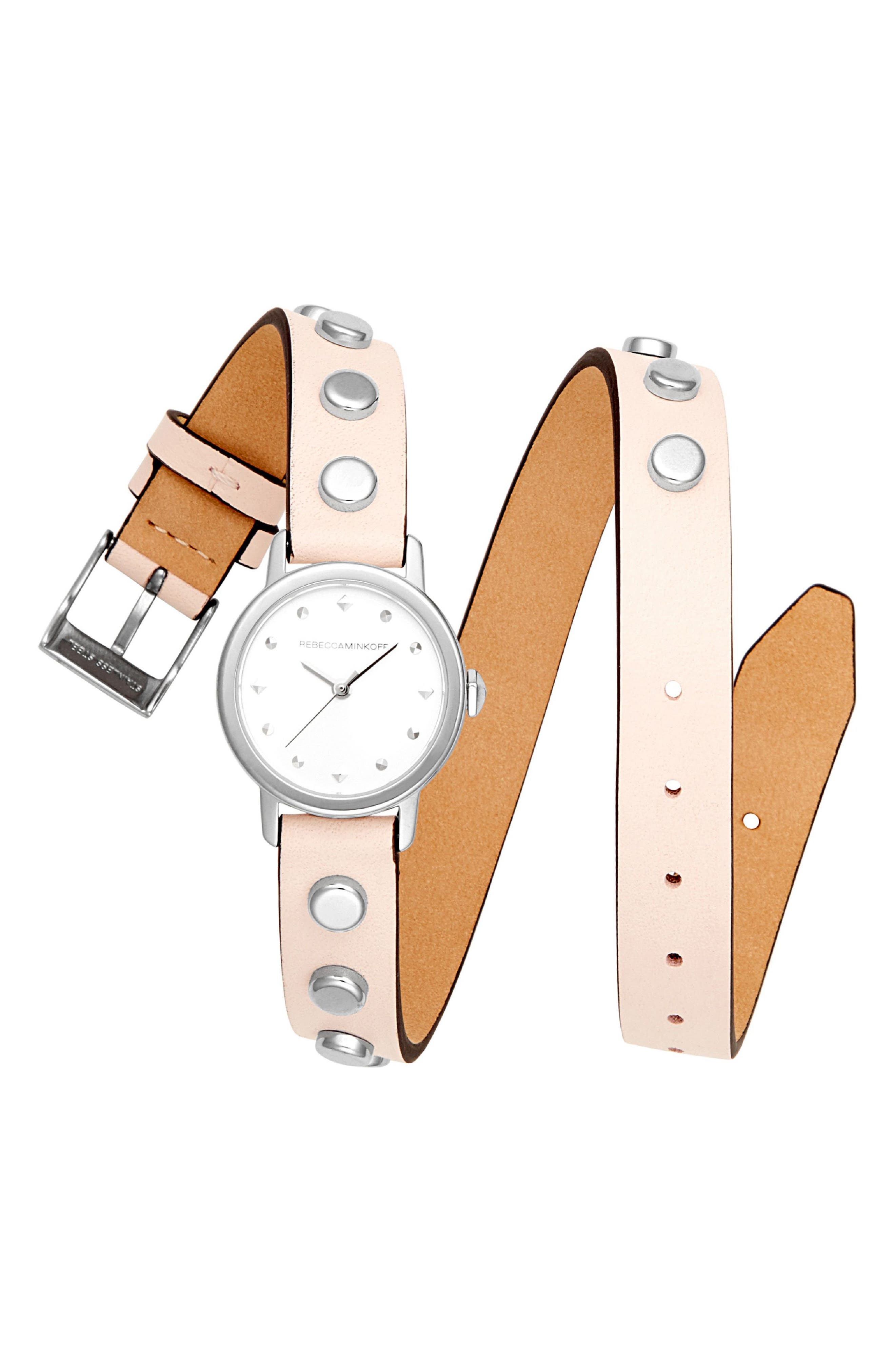 BFFLS Double Wrap Leather Strap Watch, 25mm,                         Main,                         color, BLUSH/ SILVER