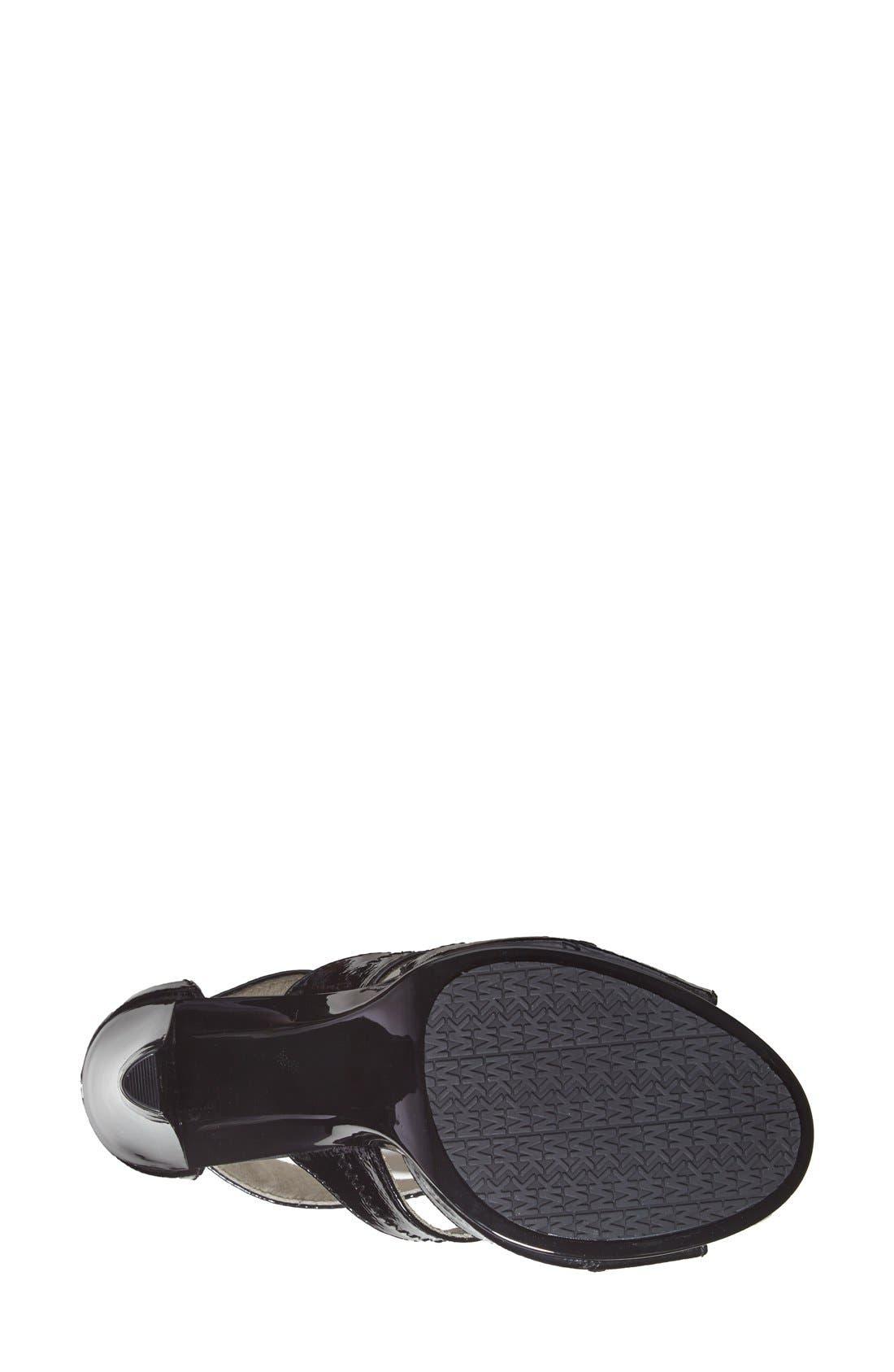'Berkley' T-Strap Sandal,                             Alternate thumbnail 6, color,                             BLACK CRINKLED PATENT