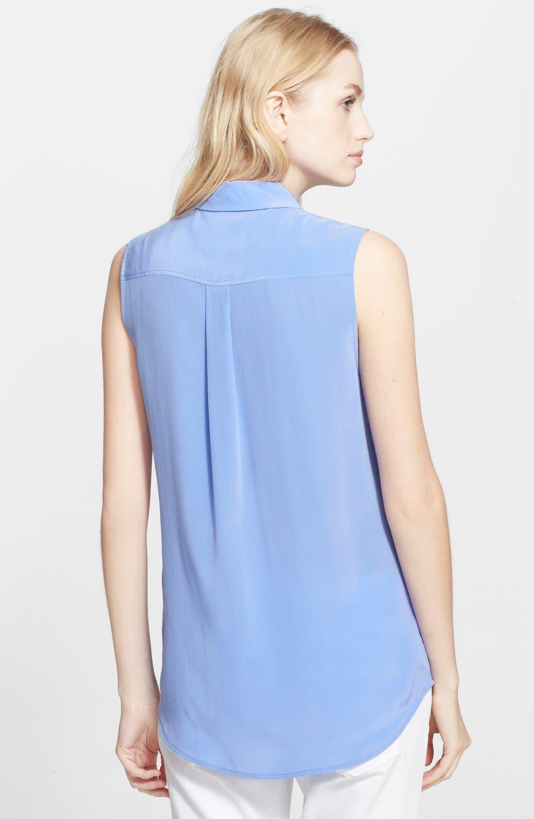 'Slim Signature' Sleeveless Silk Shirt,                             Alternate thumbnail 68, color,