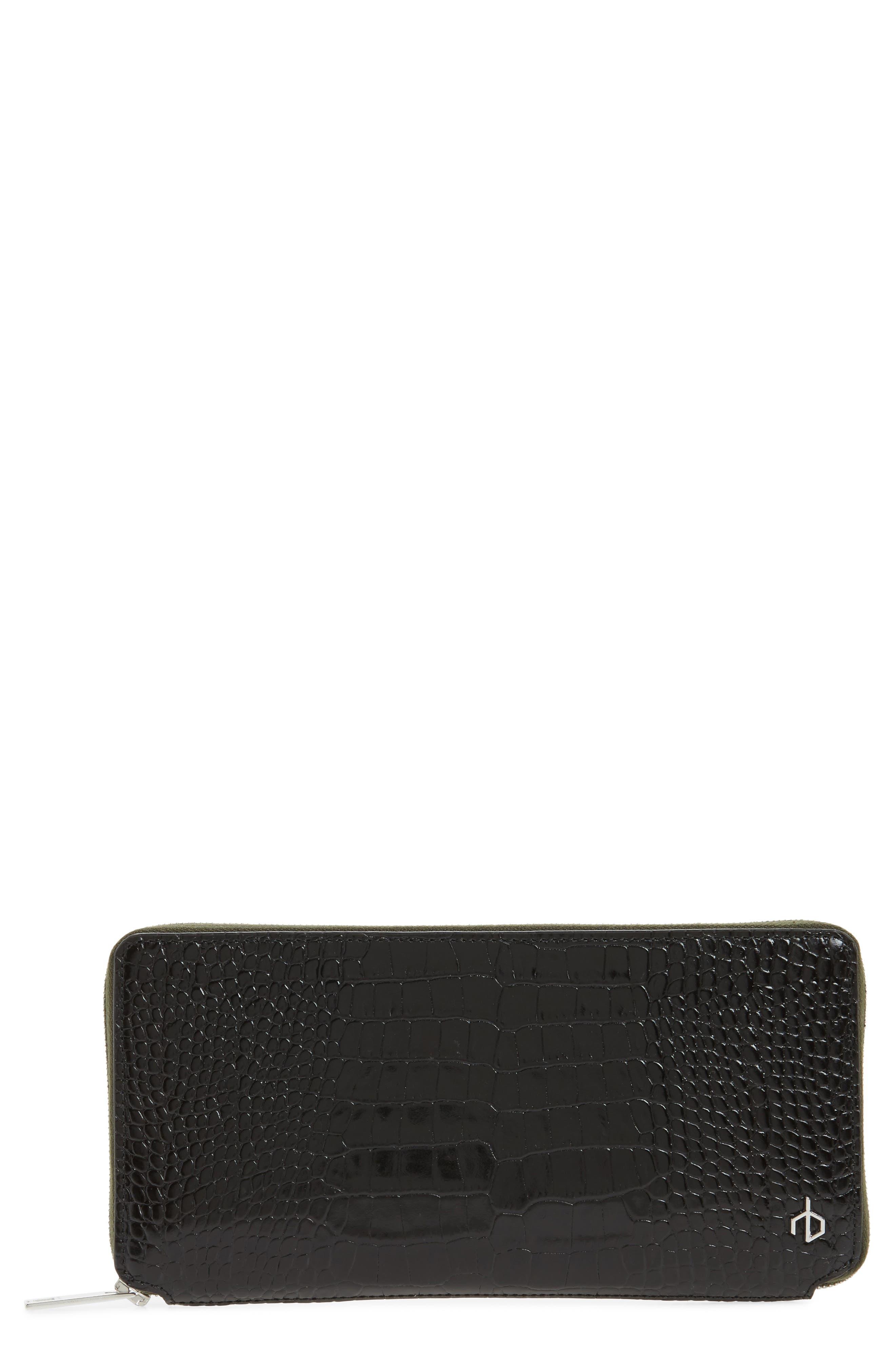 Croc Embossed Zip Around Leather Wallet,                         Main,                         color,