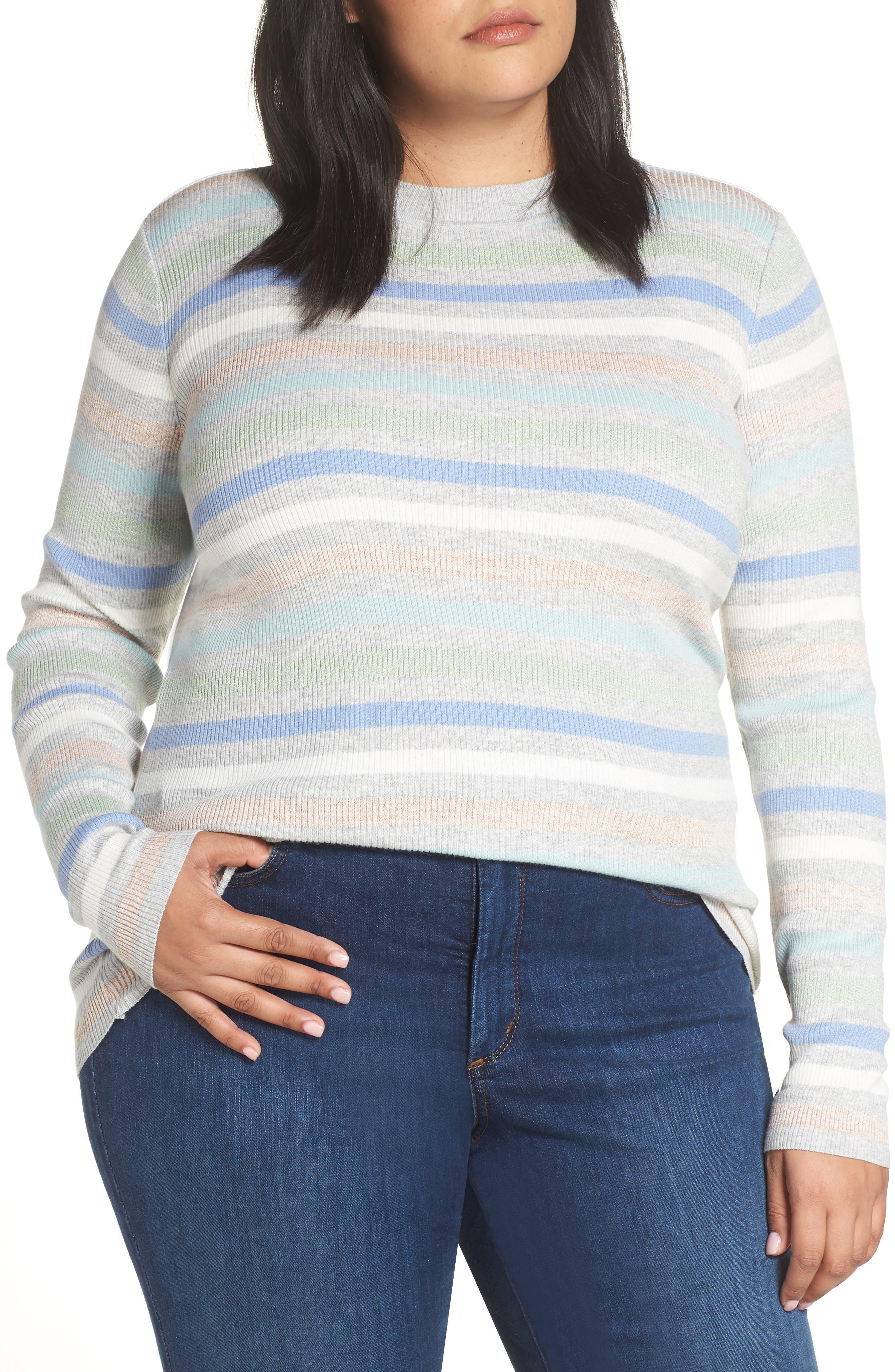 x Atlantic-Pacific Shimmer Stripe Sweater,                         Main,                         color, GREY MULTI STRIPE