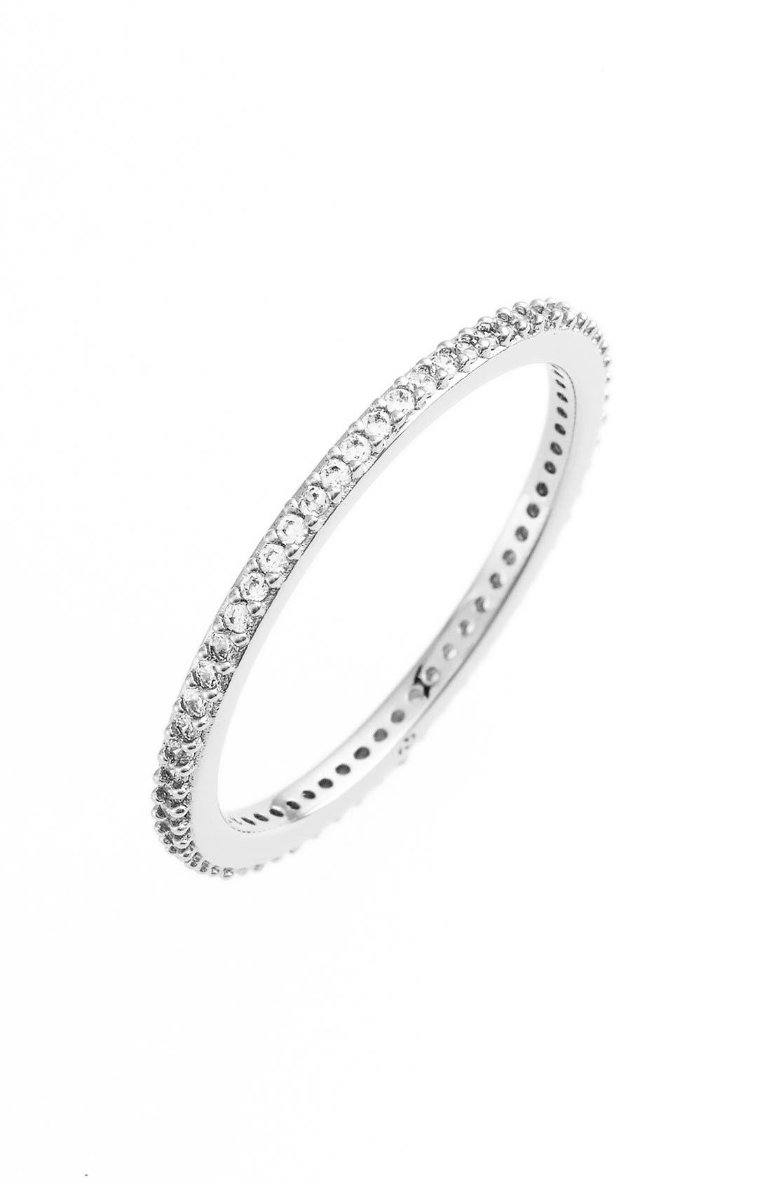 Skinny Cubic Zirconia Pavé Band Ring,                             Main thumbnail 1, color,                             SILVER