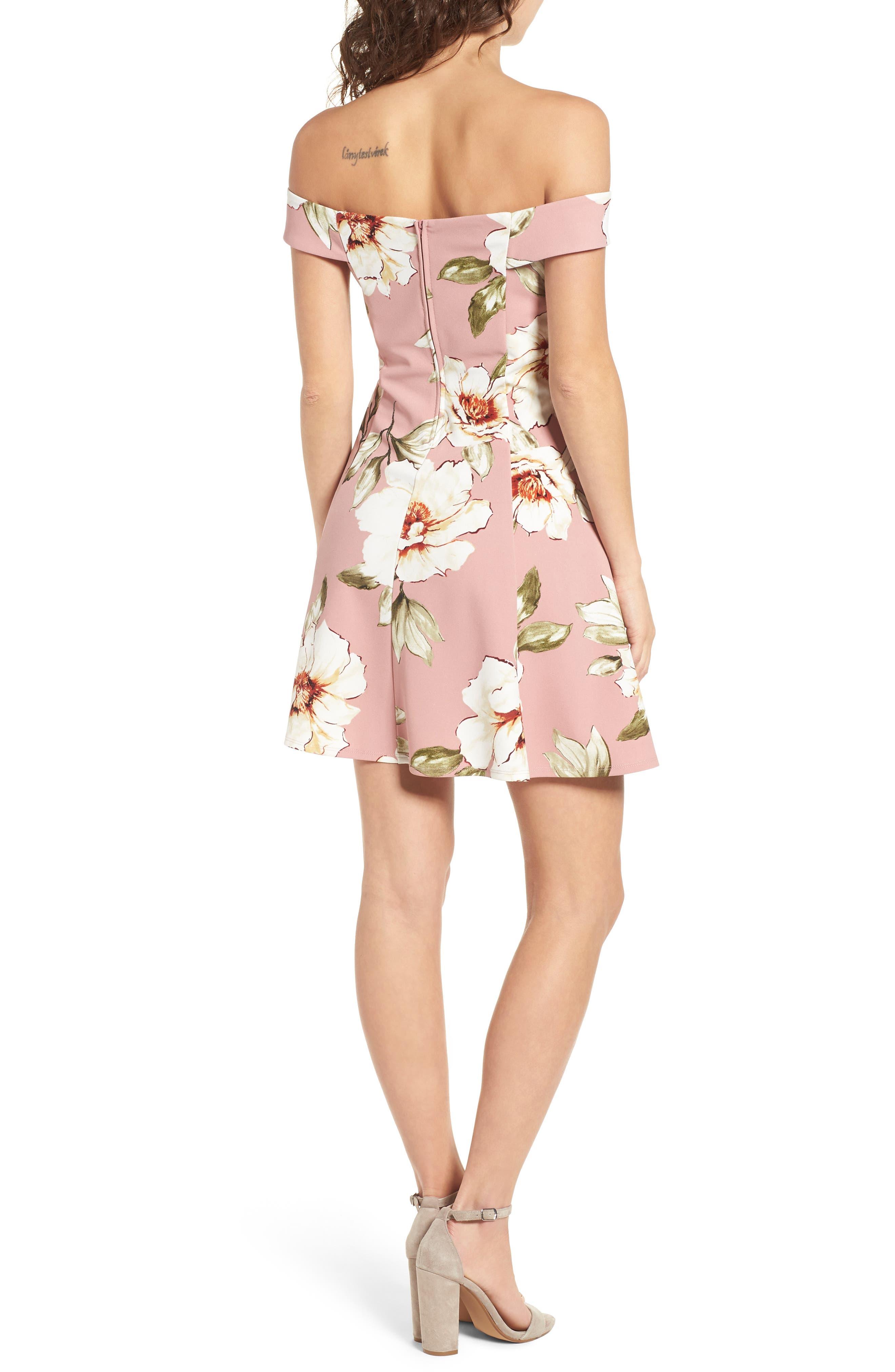Floral Print Off the Shoulder A-Line Dress,                             Alternate thumbnail 2, color,