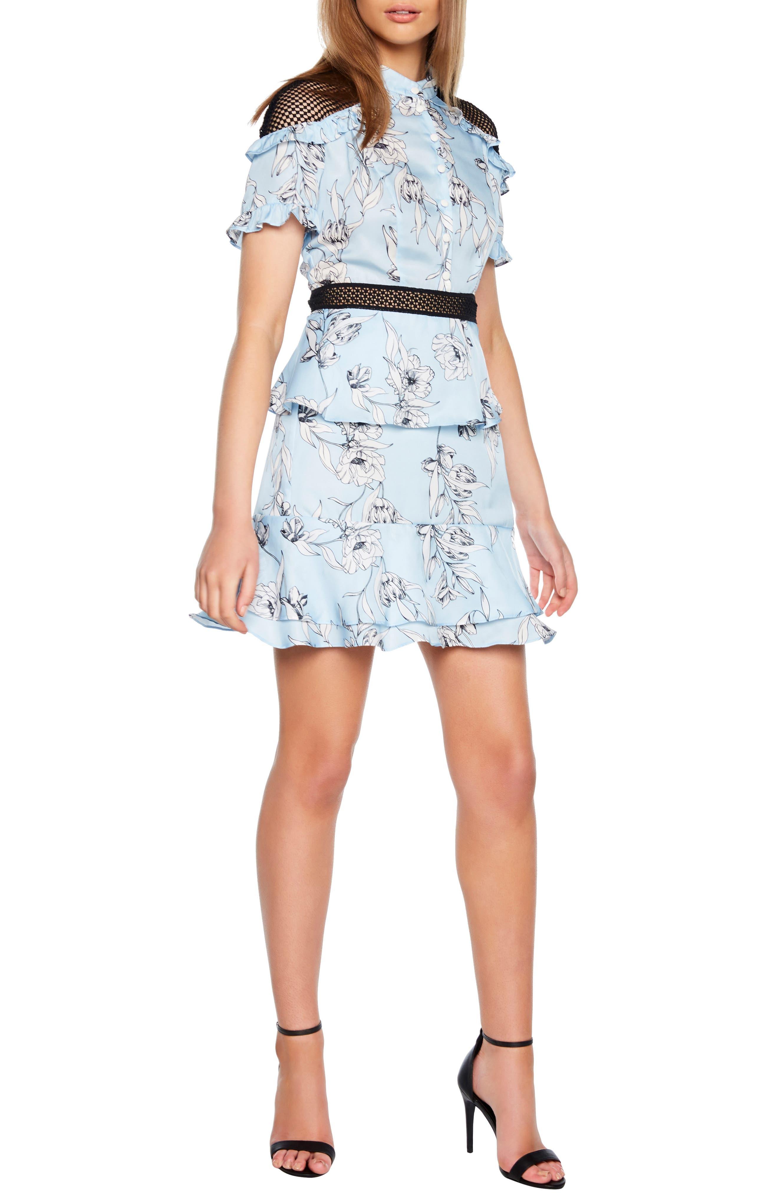 Bardot Sorrento Floral Fit & Flare Dress, Blue