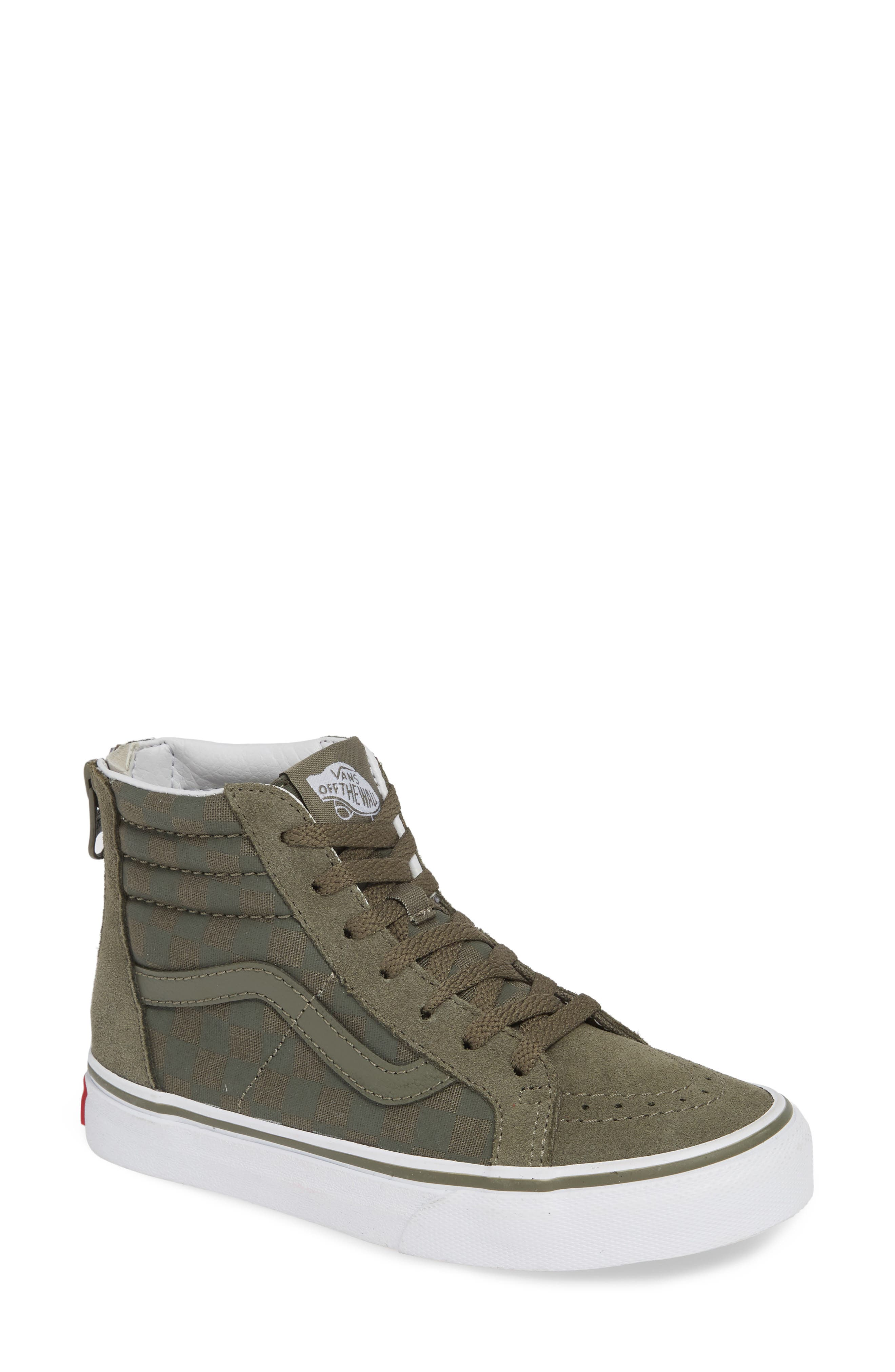 'Sk8-Hi' Sneaker,                             Main thumbnail 1, color,                             DUSTY OLIVE LEATHER