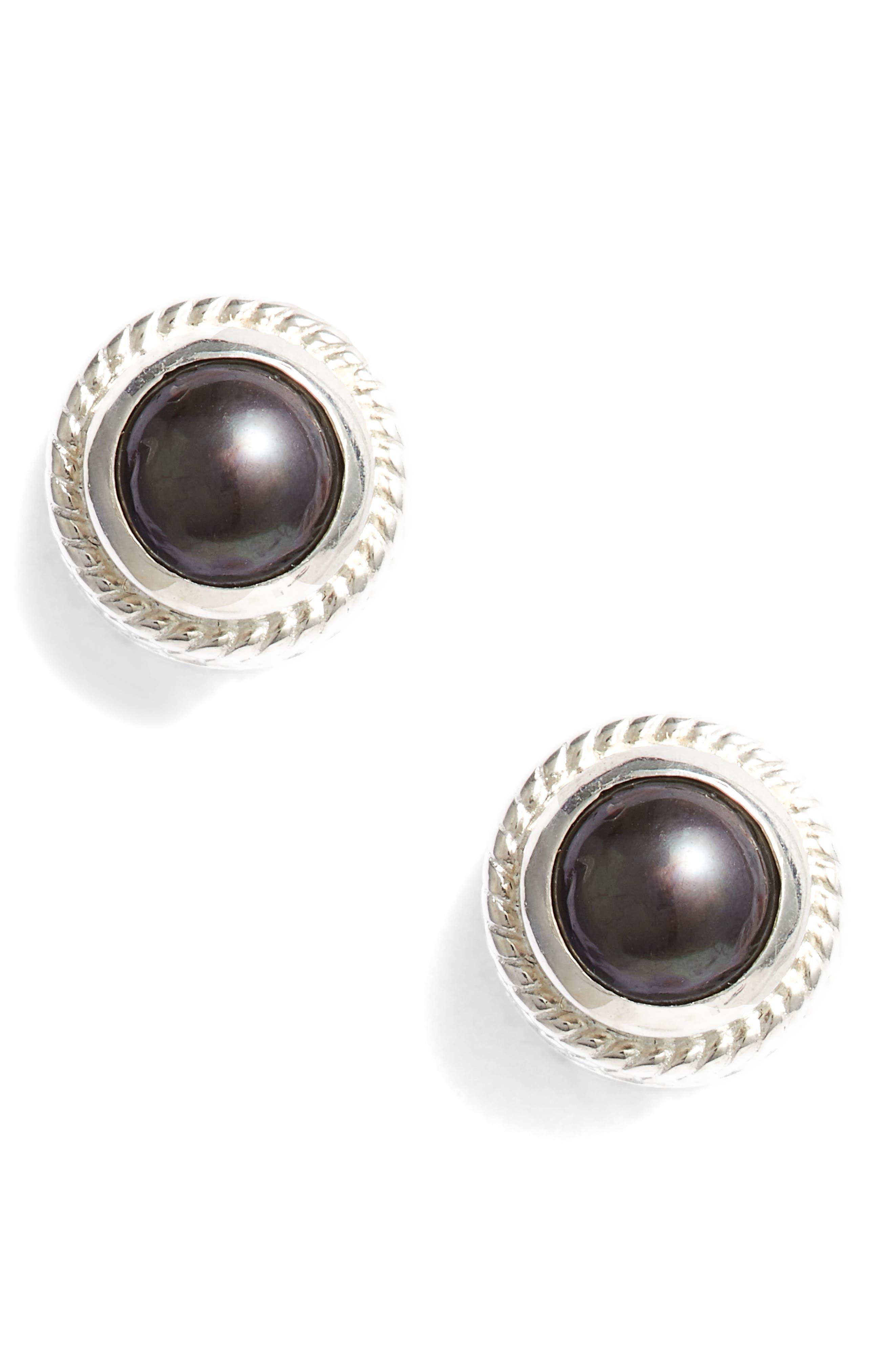 Genuine Blue Pearl Stud Earrings,                             Main thumbnail 2, color,