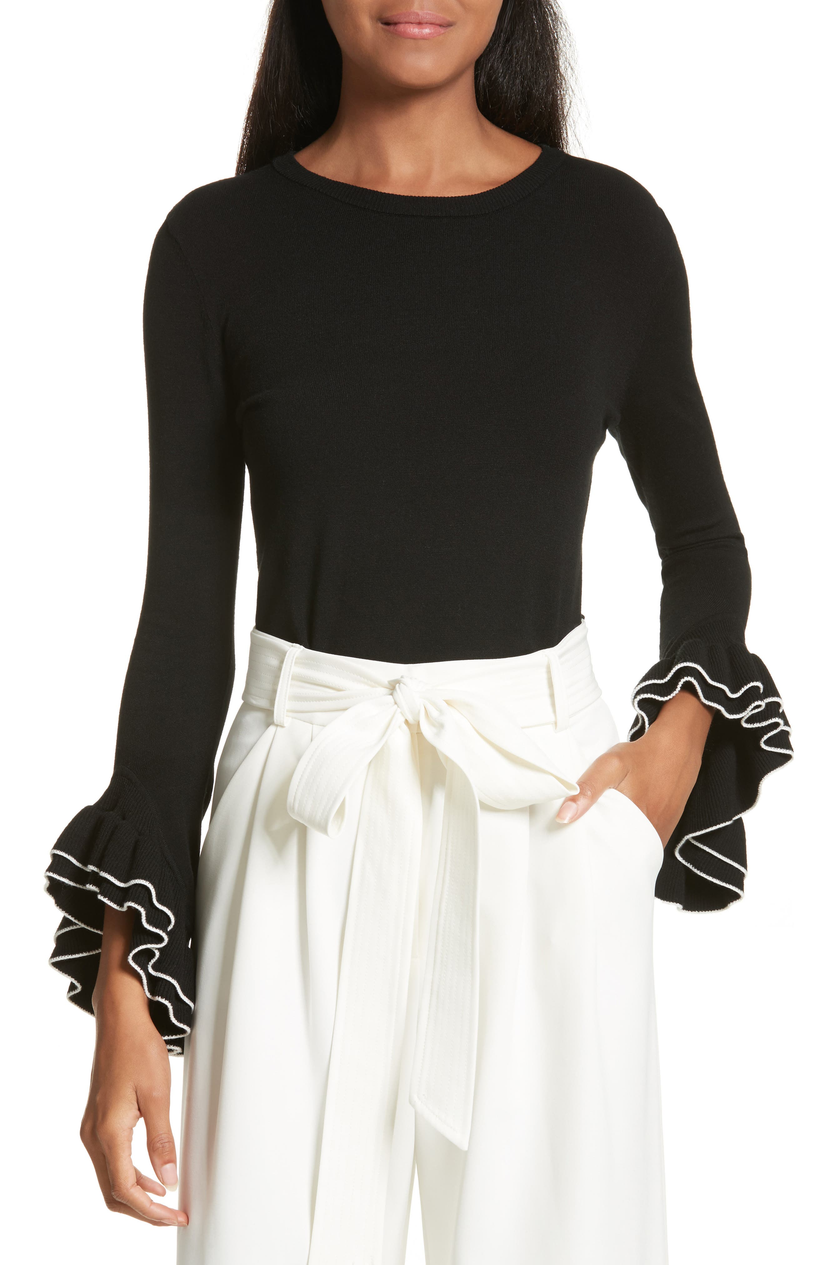 Tiered Ruffle Sleeve Sweater,                             Main thumbnail 1, color,