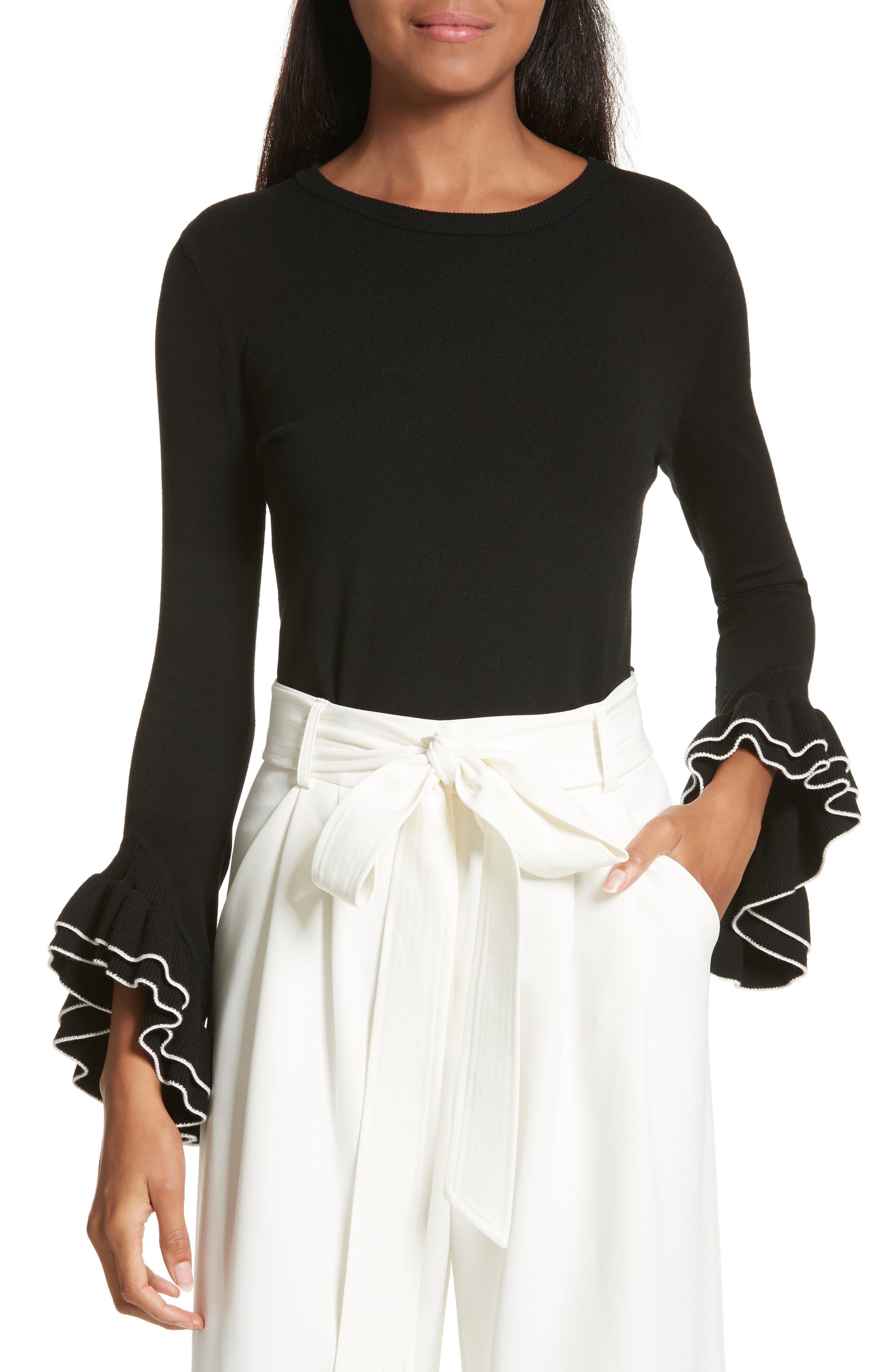 Tiered Ruffle Sleeve Sweater,                         Main,                         color,