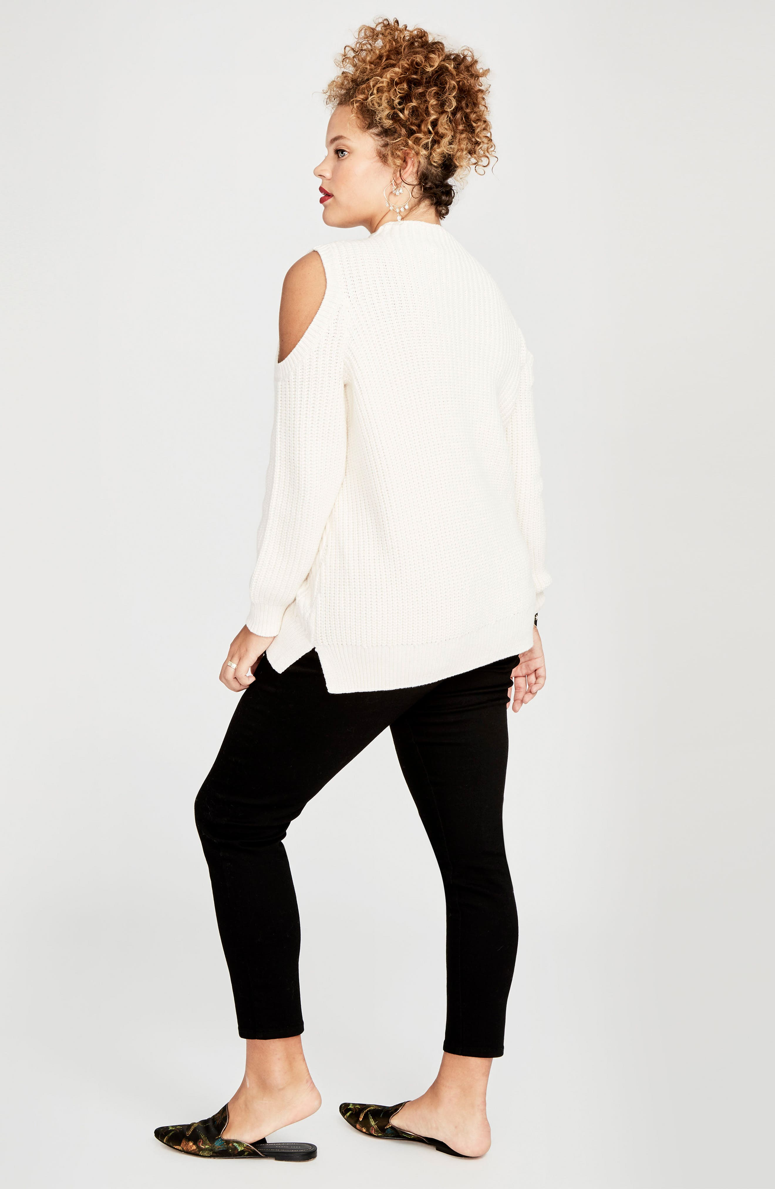 Cold Shoulder Cable Sweater,                             Alternate thumbnail 16, color,