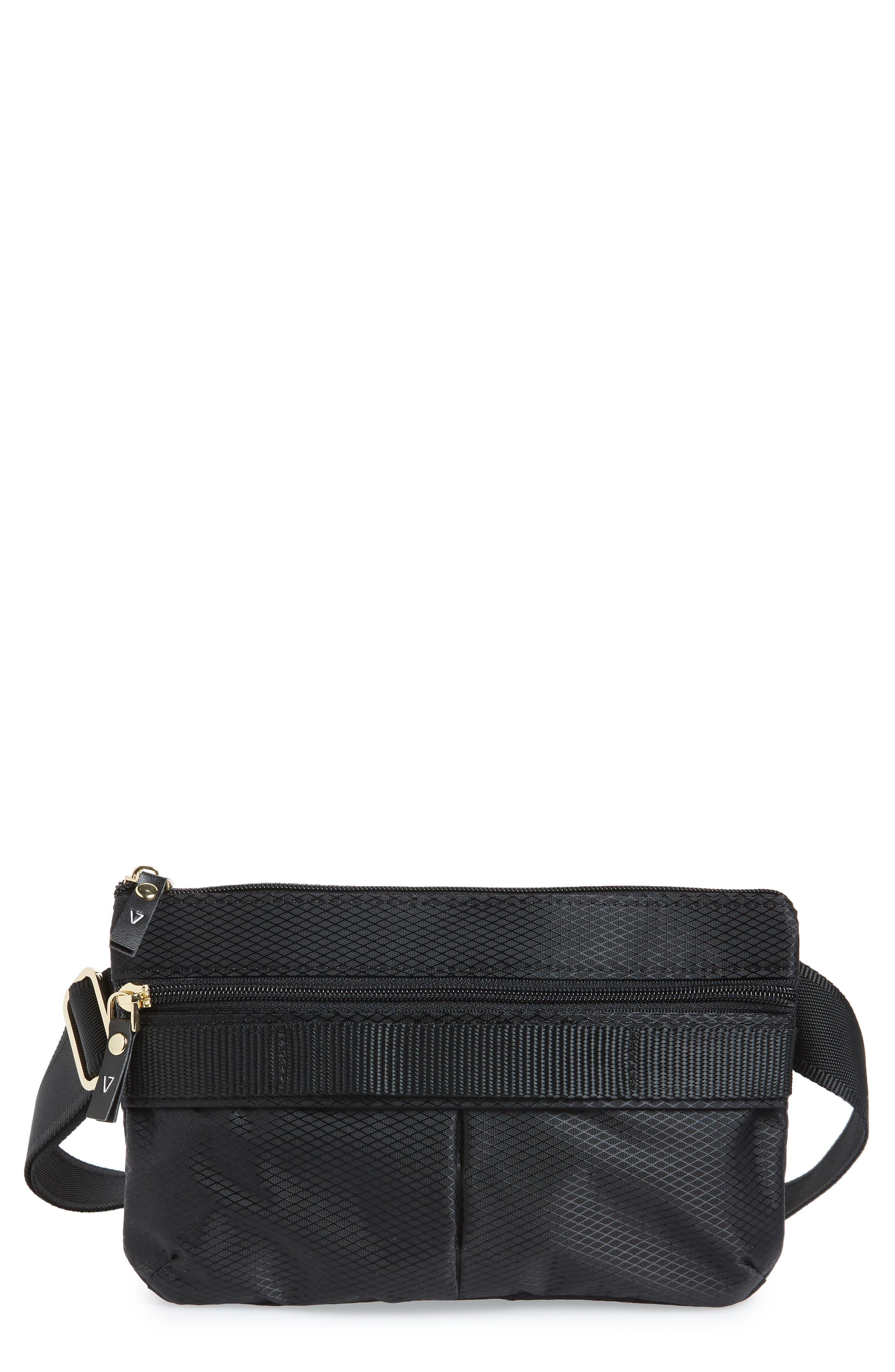 Go Black Expandable Belt Bag,                             Main thumbnail 1, color,                             BLACK