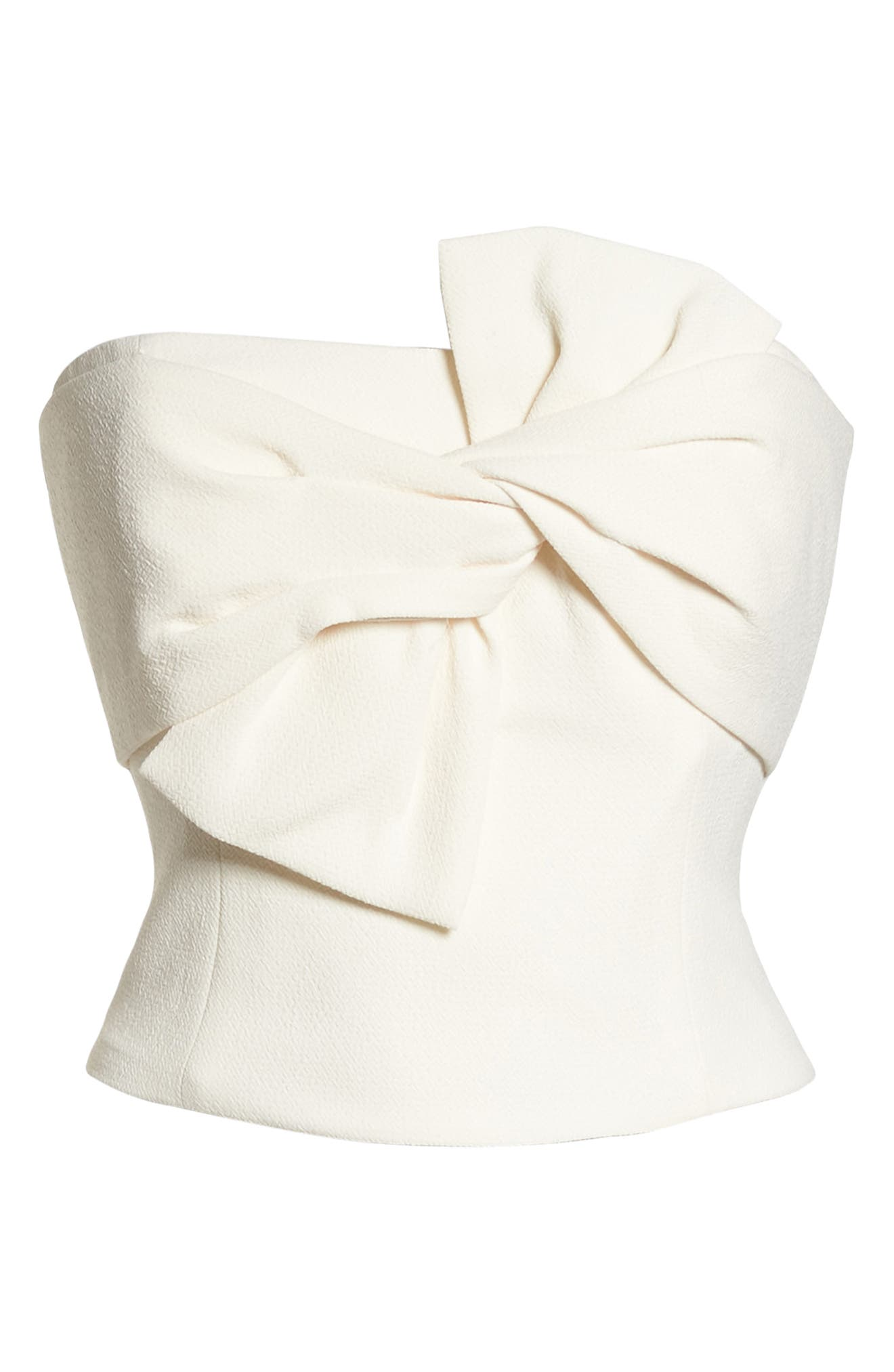 Strapless Bow Crepe Top,                             Alternate thumbnail 6, color,                             WHITE