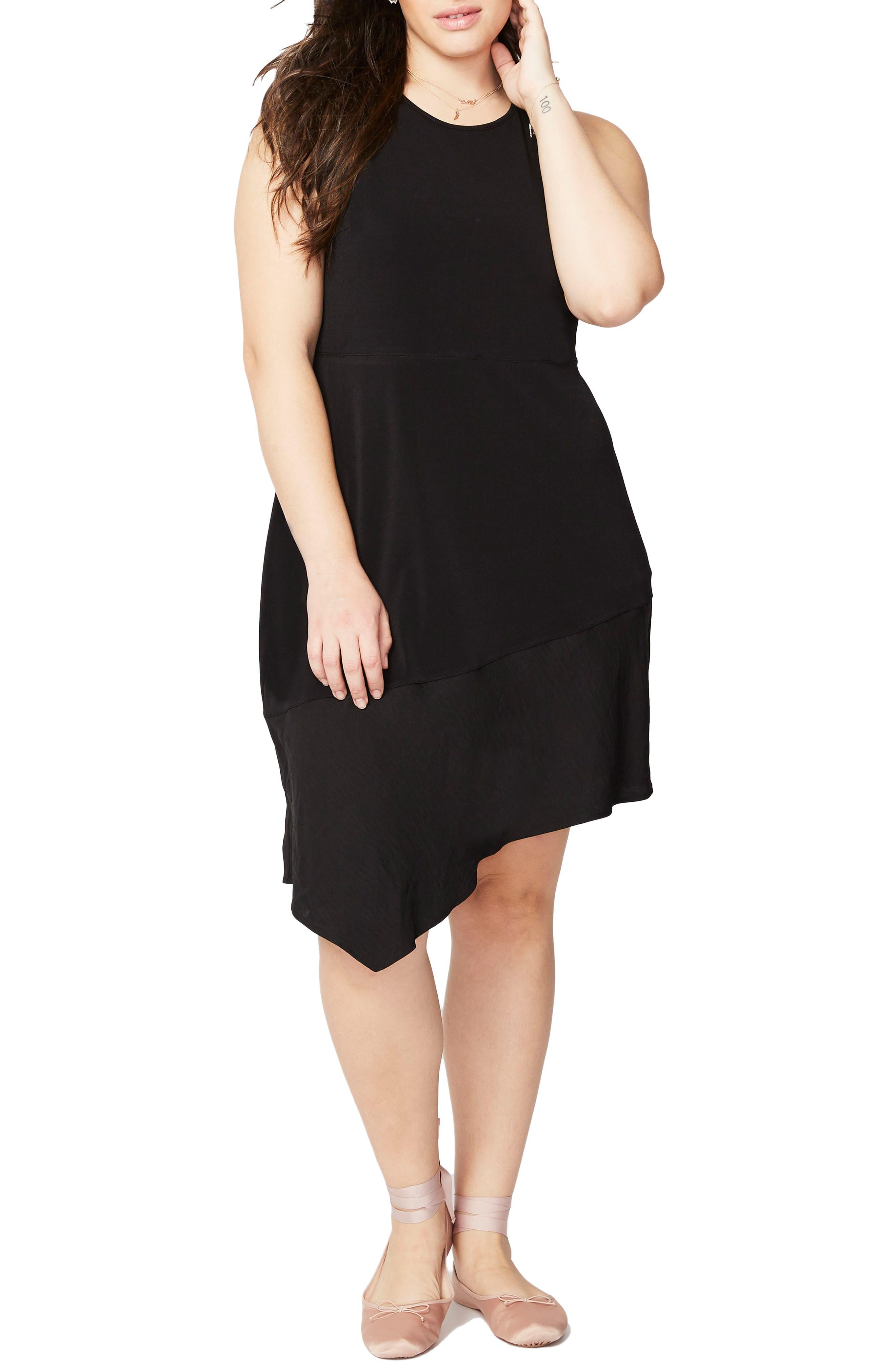 Asymmetrical Flounce Dress,                             Main thumbnail 1, color,                             001