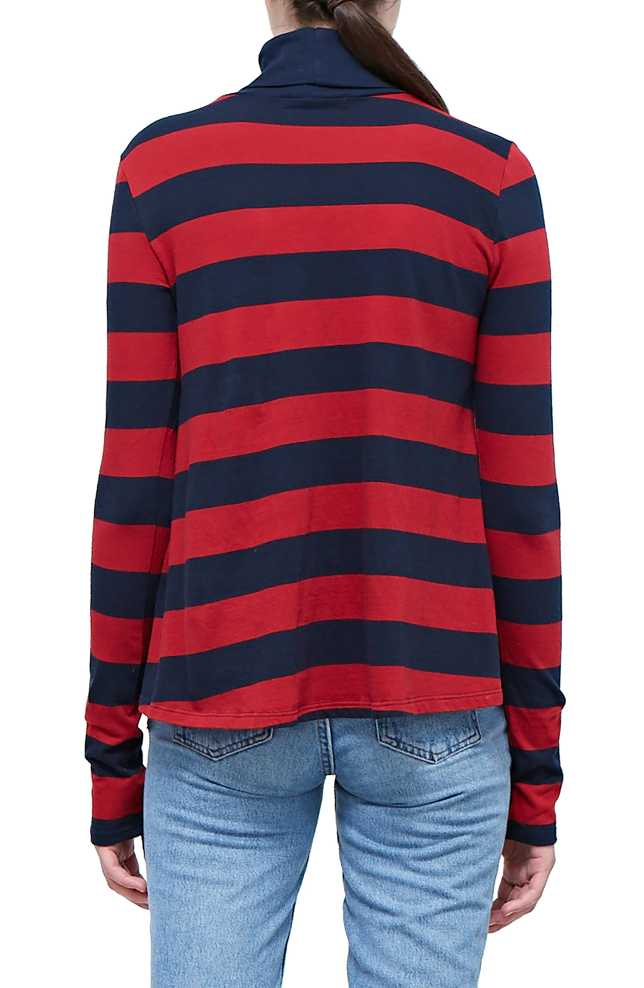 Rugby Stripe Turtleneck Top,                             Alternate thumbnail 2, color,                             NAVY/ DEEP RED