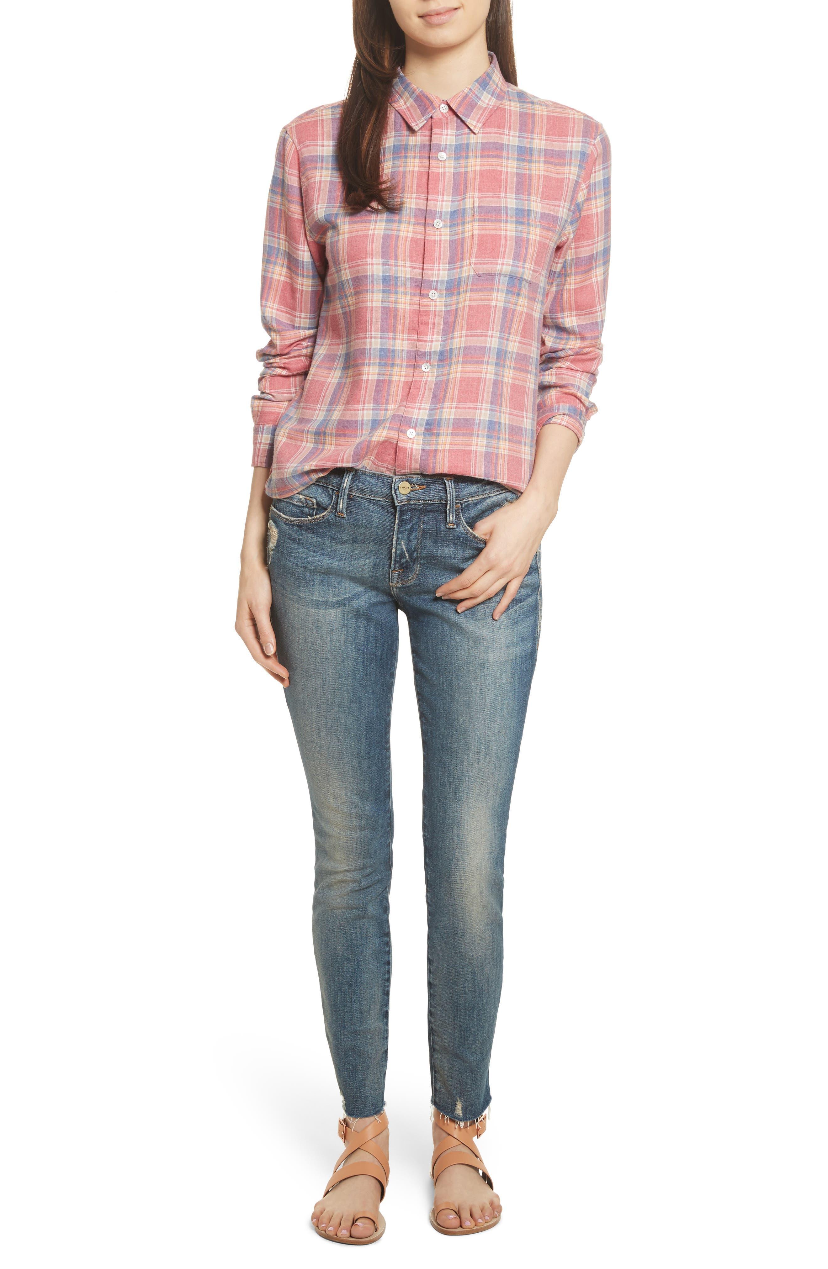 Le Skinny de Jeanne Raw Edge Skinny Jeans,                             Alternate thumbnail 7, color,                             401