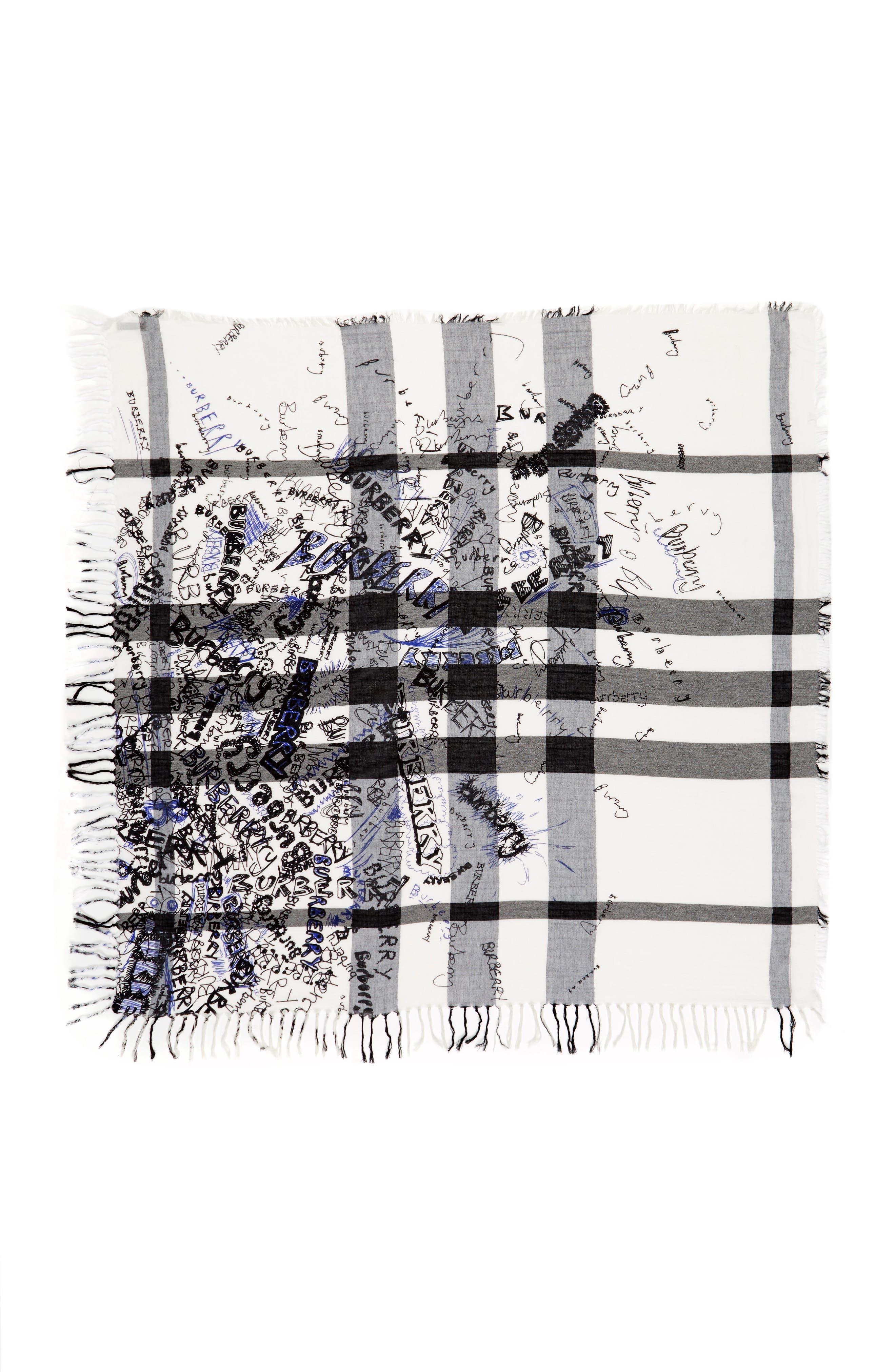 Sketchbook Text Mega Check Silk & Cotton Scarf,                             Main thumbnail 1, color,                             466