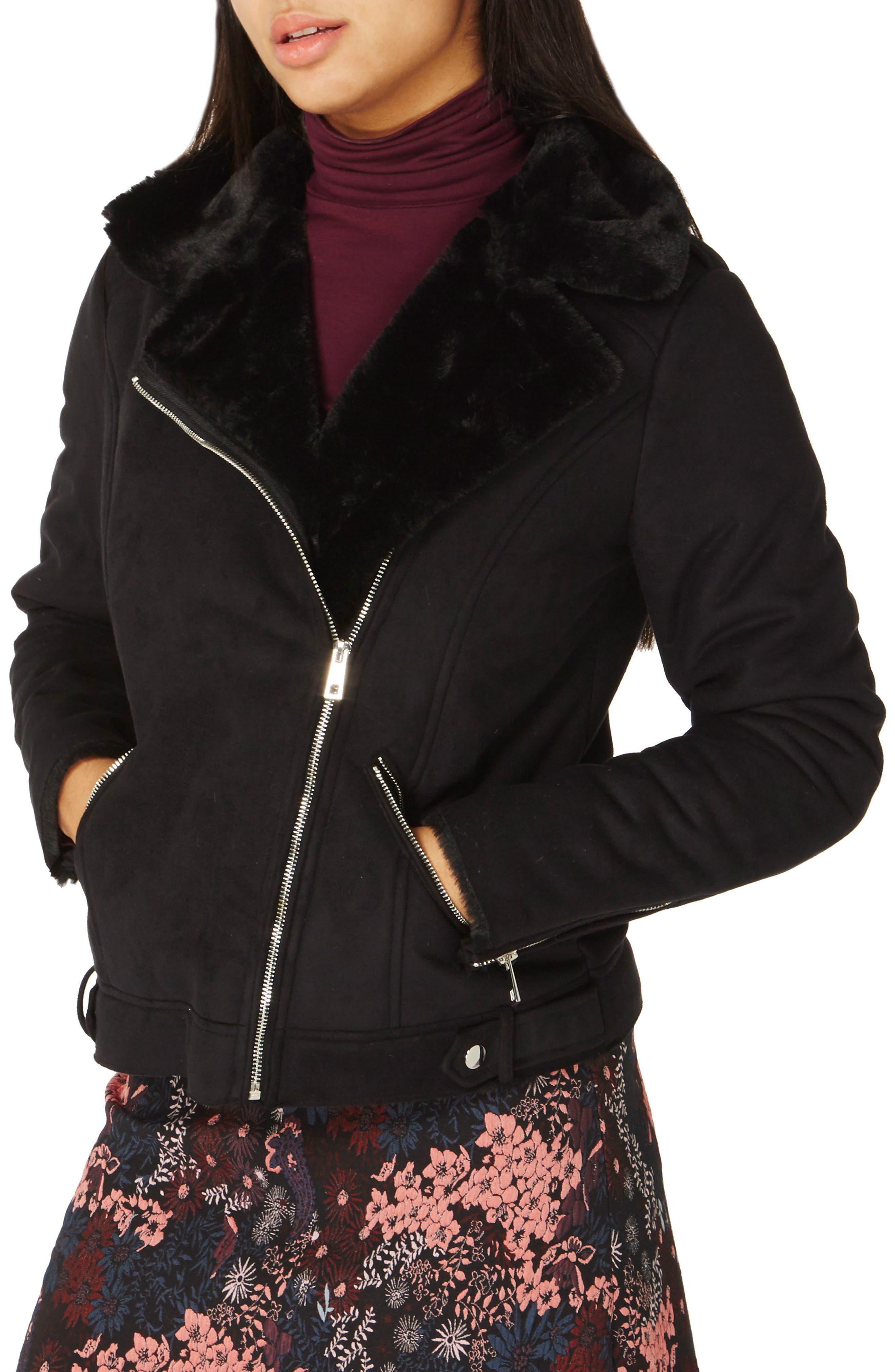 Faux Suede Biker Jacket with Faux Shearling Trim,                         Main,                         color,
