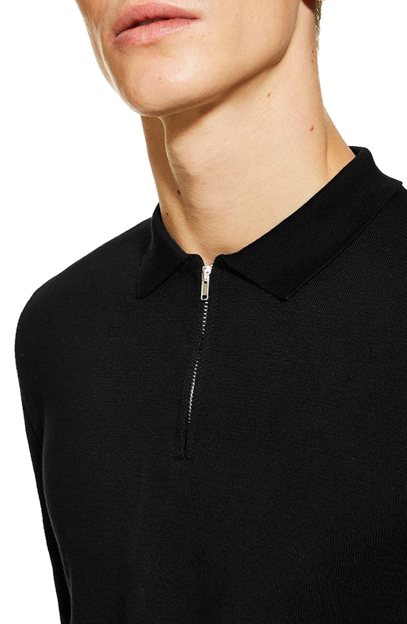 Zip Long Sleeve Polo,                             Alternate thumbnail 3, color,                             BLACK
