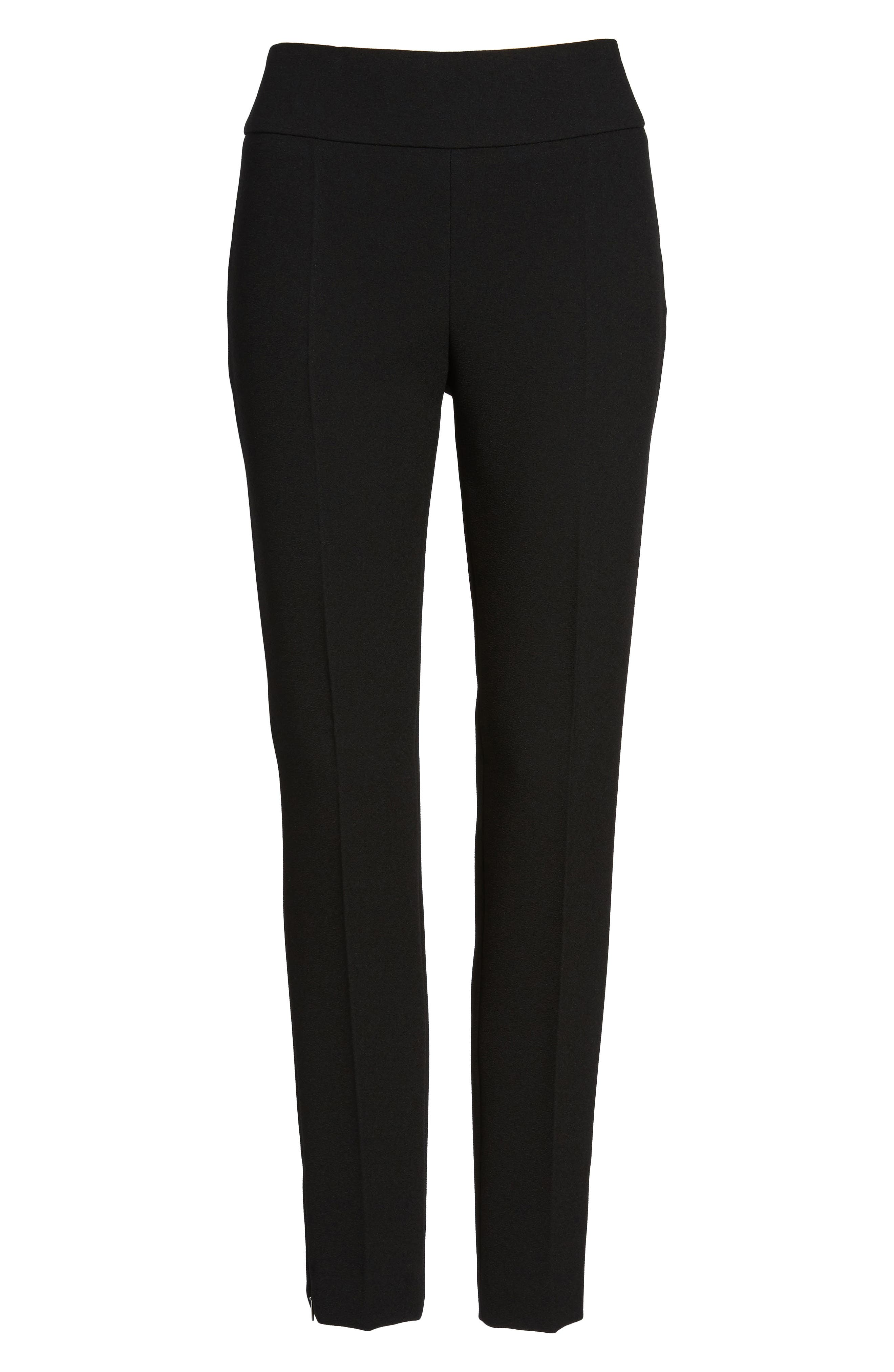 Timalea Compact Crepe Side Zip Slim Leg Trousers,                             Alternate thumbnail 7, color,                             001