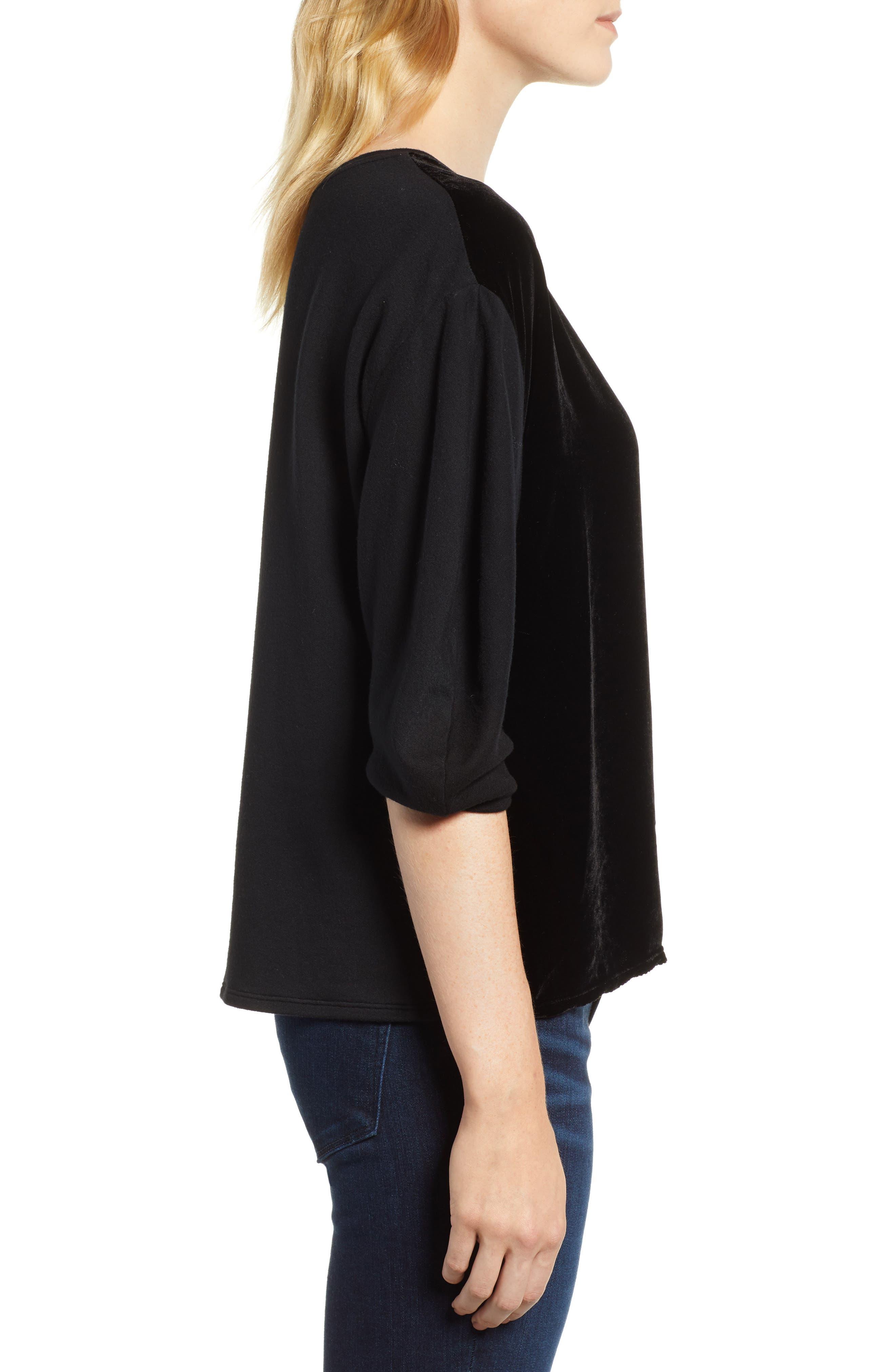 Velvet & Fleece Half Sleeve Top,                             Alternate thumbnail 3, color,                             BLACK