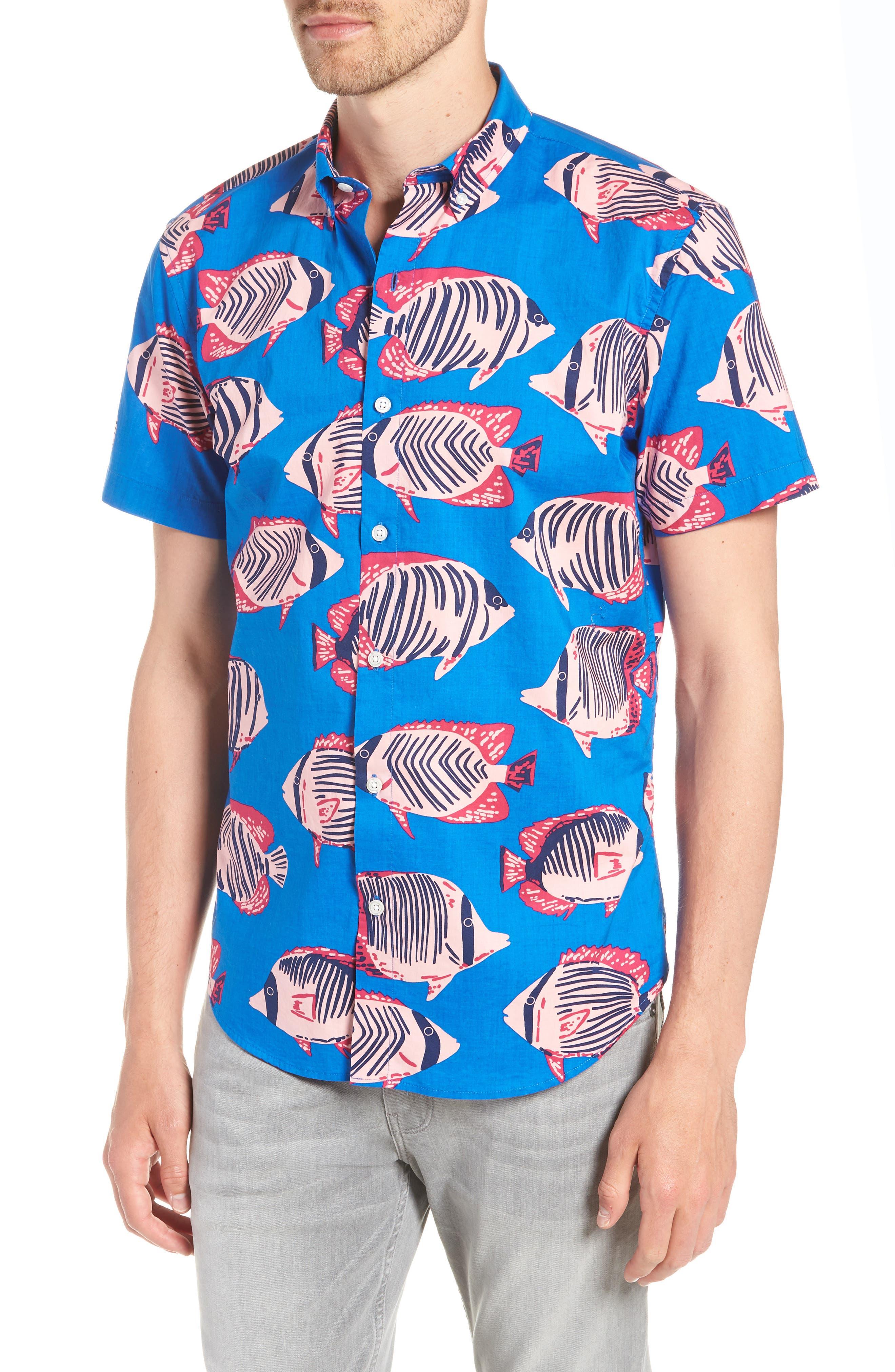 Riviera Slim Fit Fish Print Sport Shirt,                         Main,                         color, 400