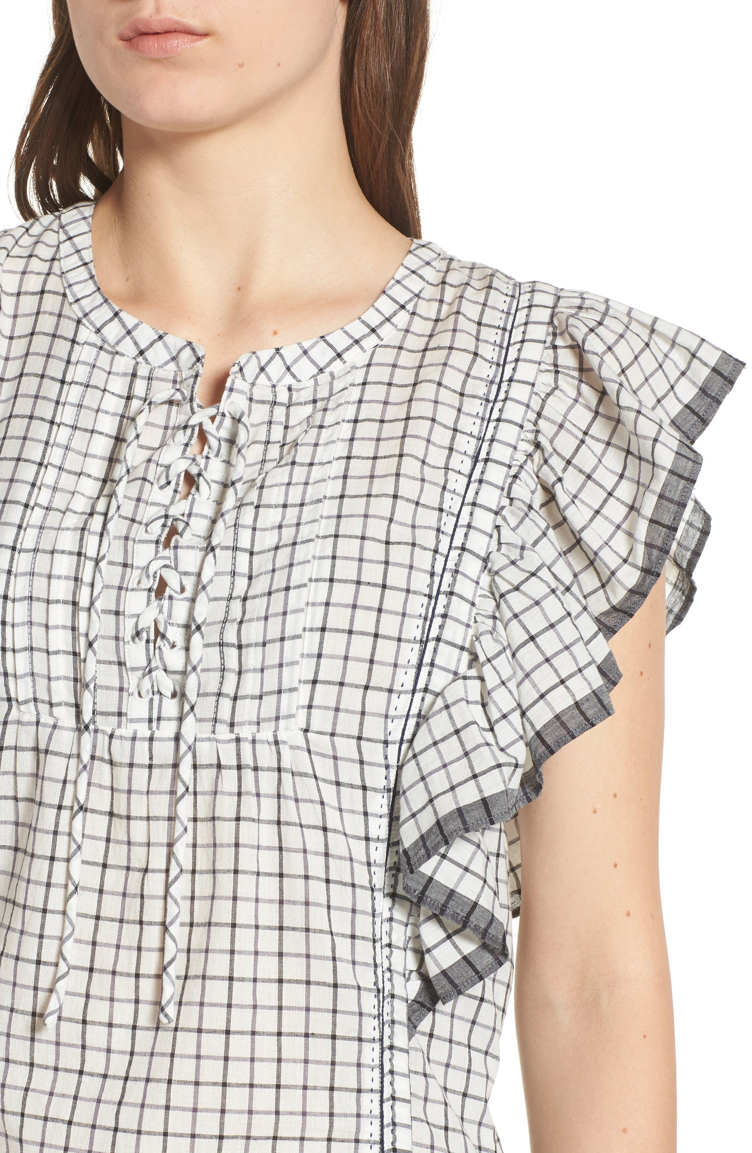 Ruffle Check Top,                             Alternate thumbnail 4, color,