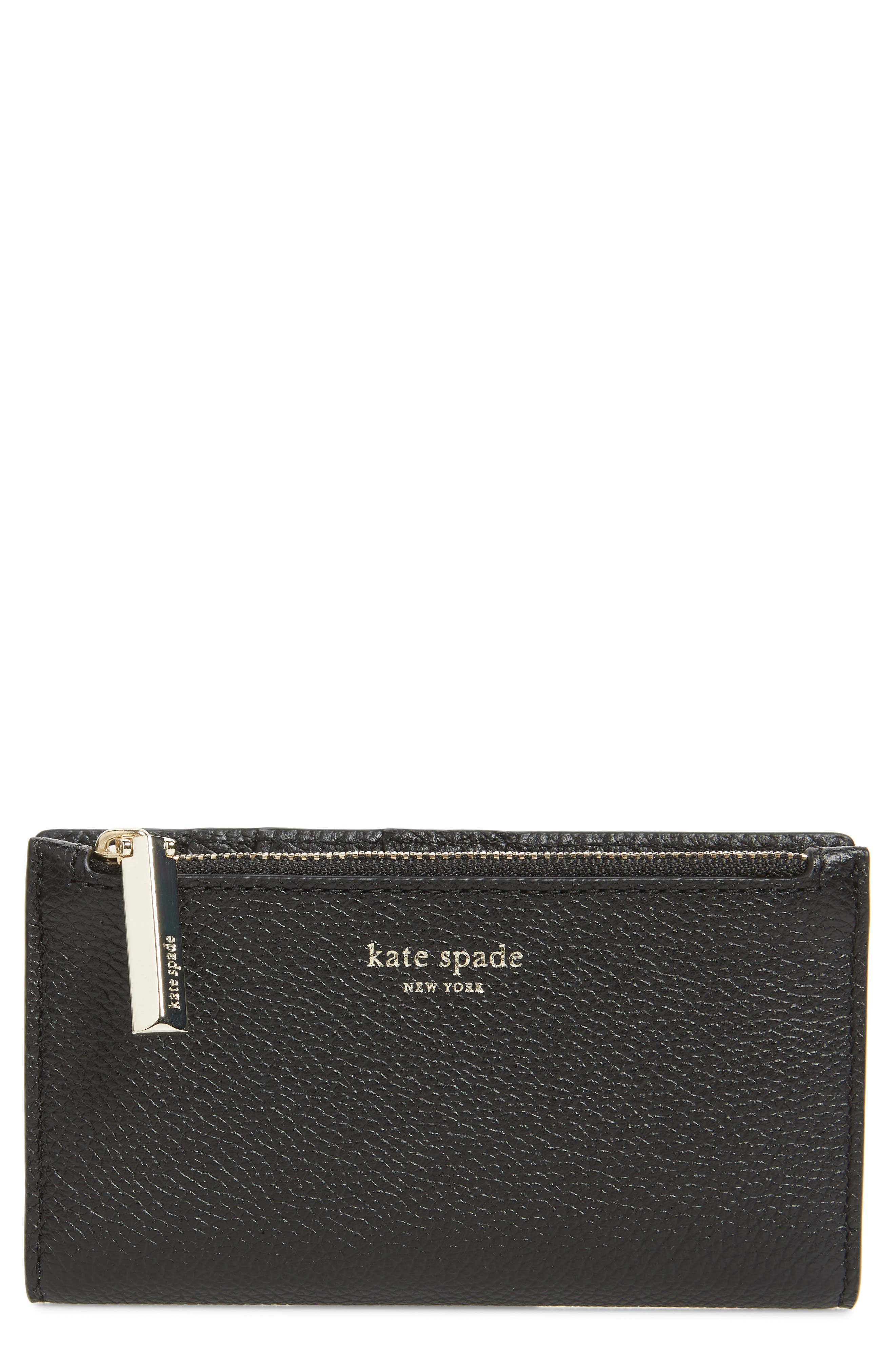 KATE SPADE NEW YORK,                             margaux slim bifold wallet,                             Main thumbnail 1, color,                             BLACK