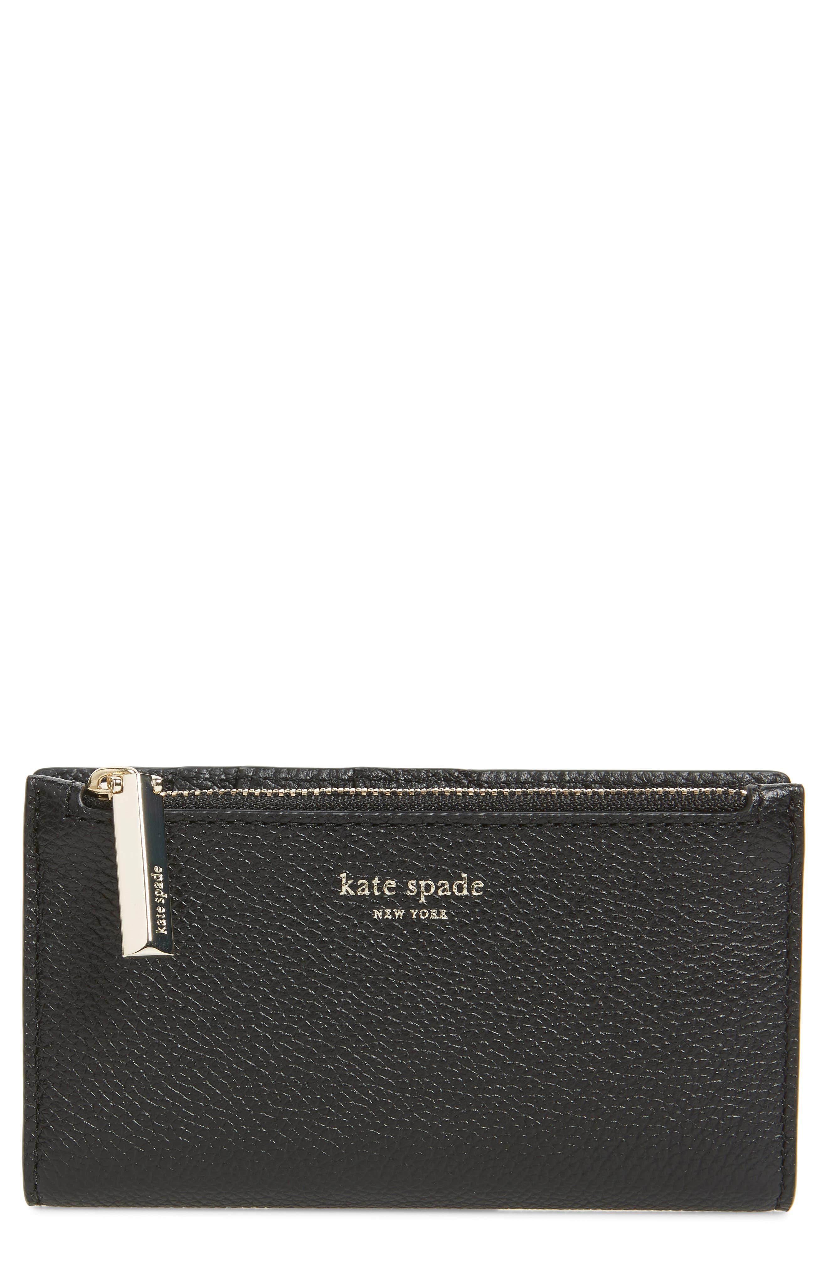 KATE SPADE NEW YORK margaux slim bifold wallet, Main, color, BLACK