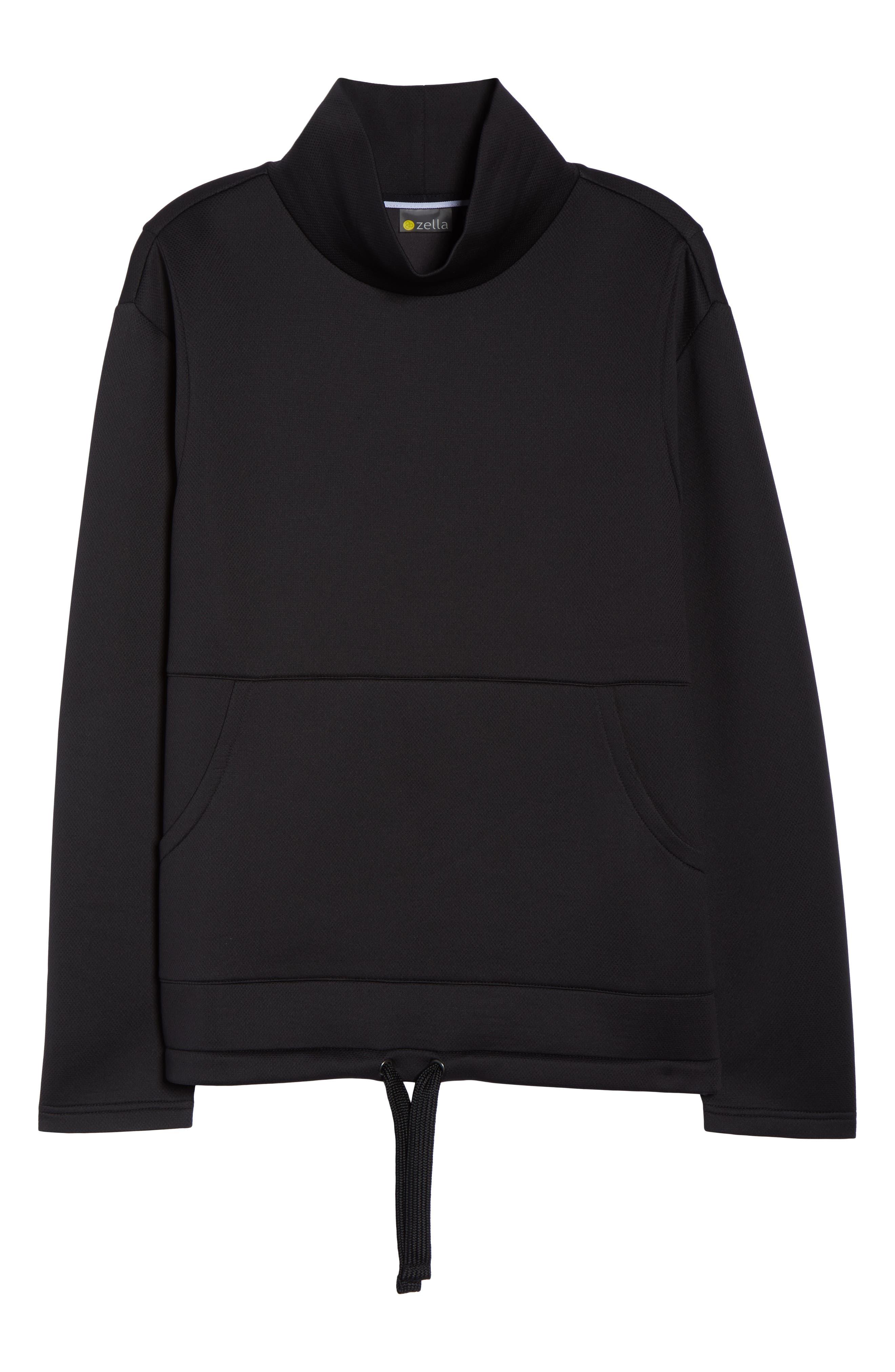 All About It Funnel Neck Sweatshirt,                             Alternate thumbnail 7, color,                             BLACK