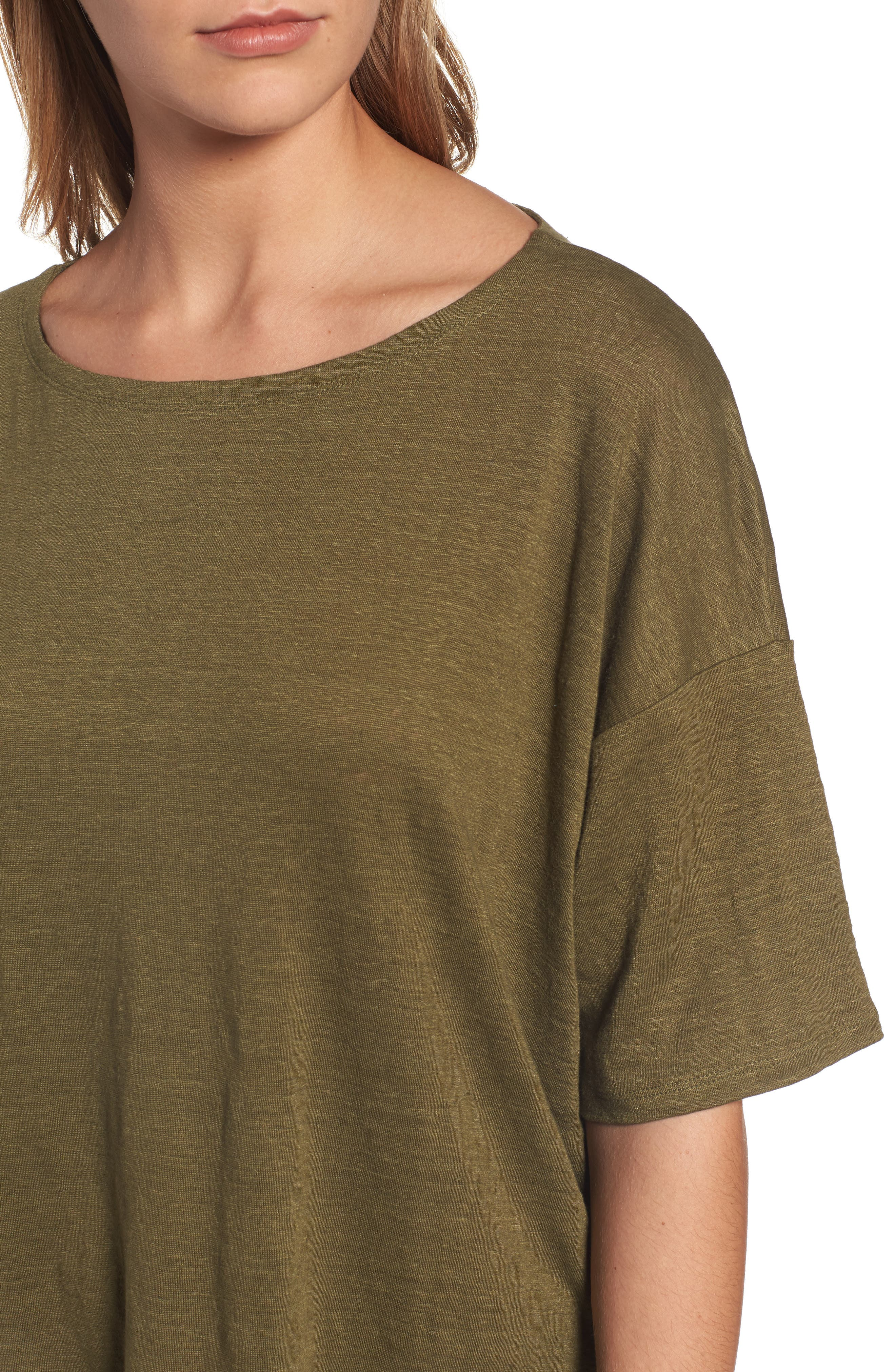 Organic Linen Jersey Boxy Top,                             Alternate thumbnail 24, color,