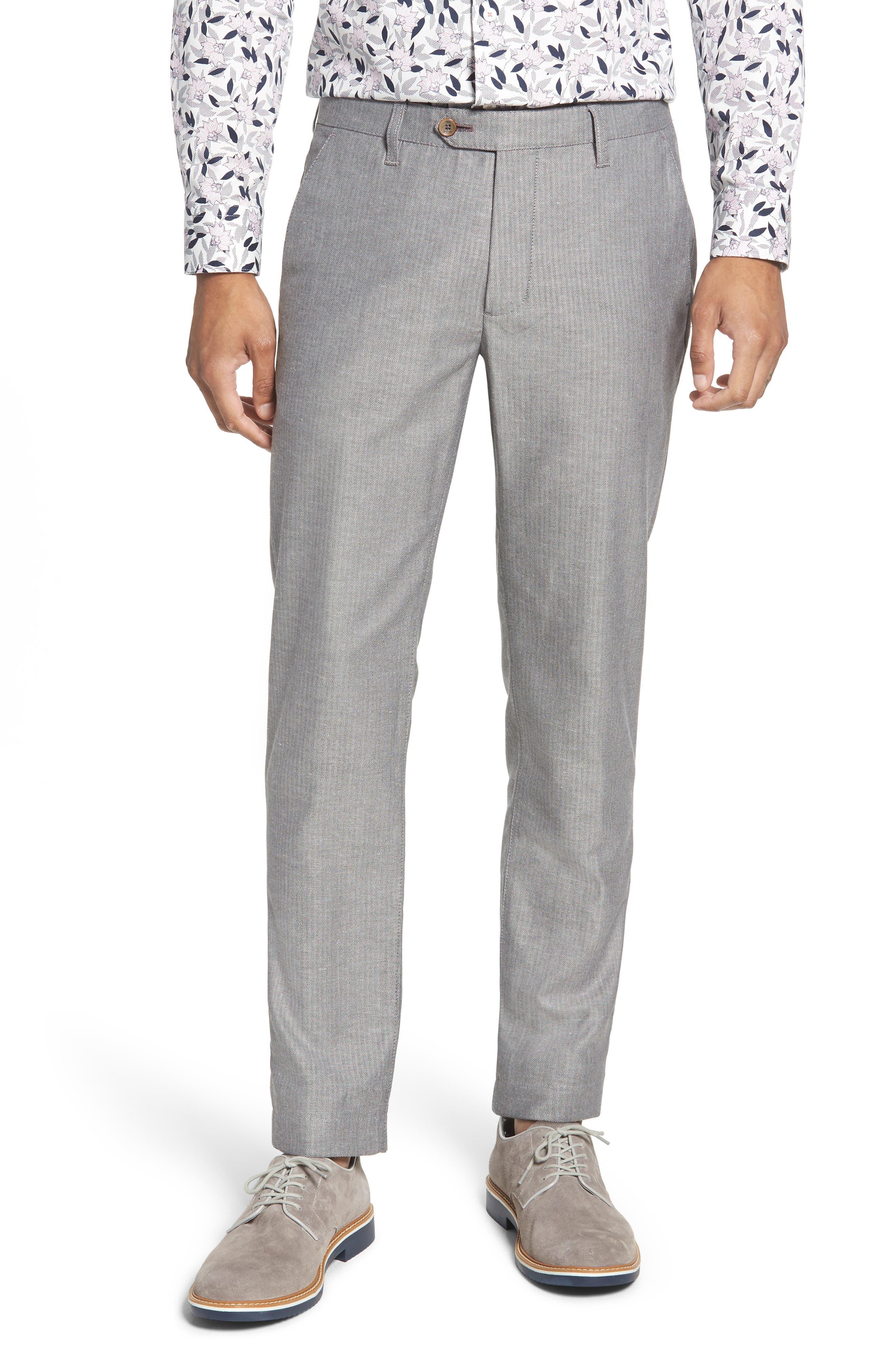 TED BAKER LONDON Cazzman Flat Front Stretch Pants, Main, color, 010