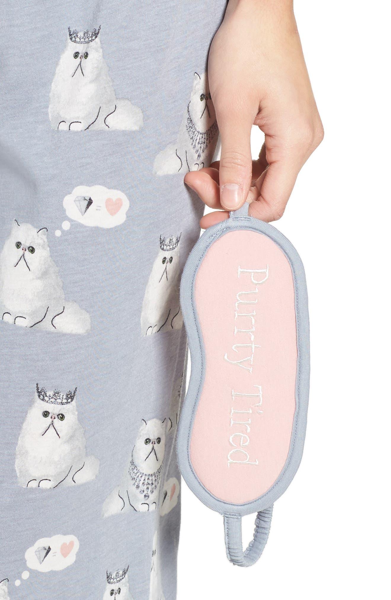 Playful Print Pajamas & Eye Mask,                             Alternate thumbnail 4, color,                             065
