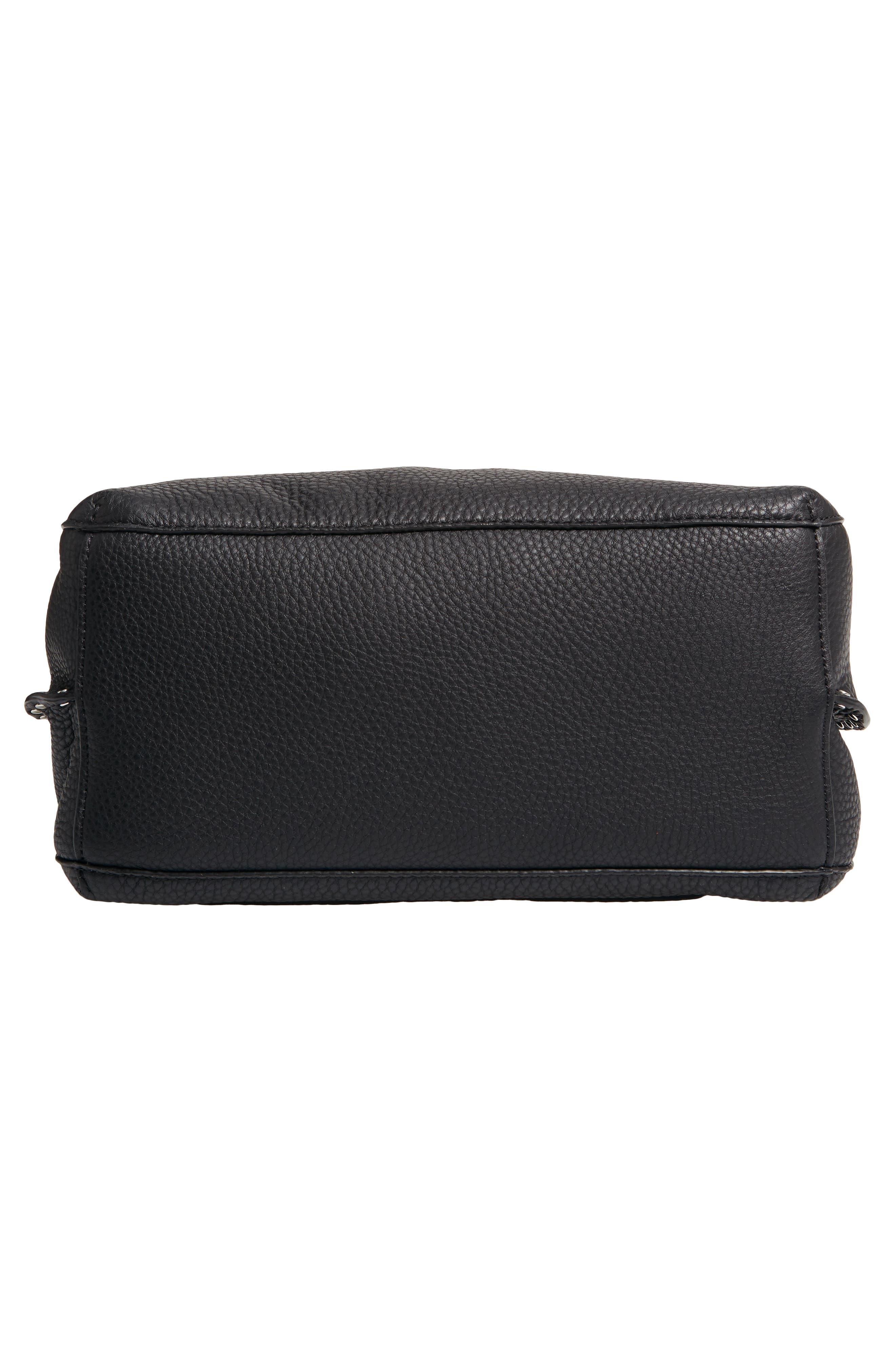 Darren Deerskin Leather Shoulder Bag,                             Alternate thumbnail 6, color,                             JET BLACK
