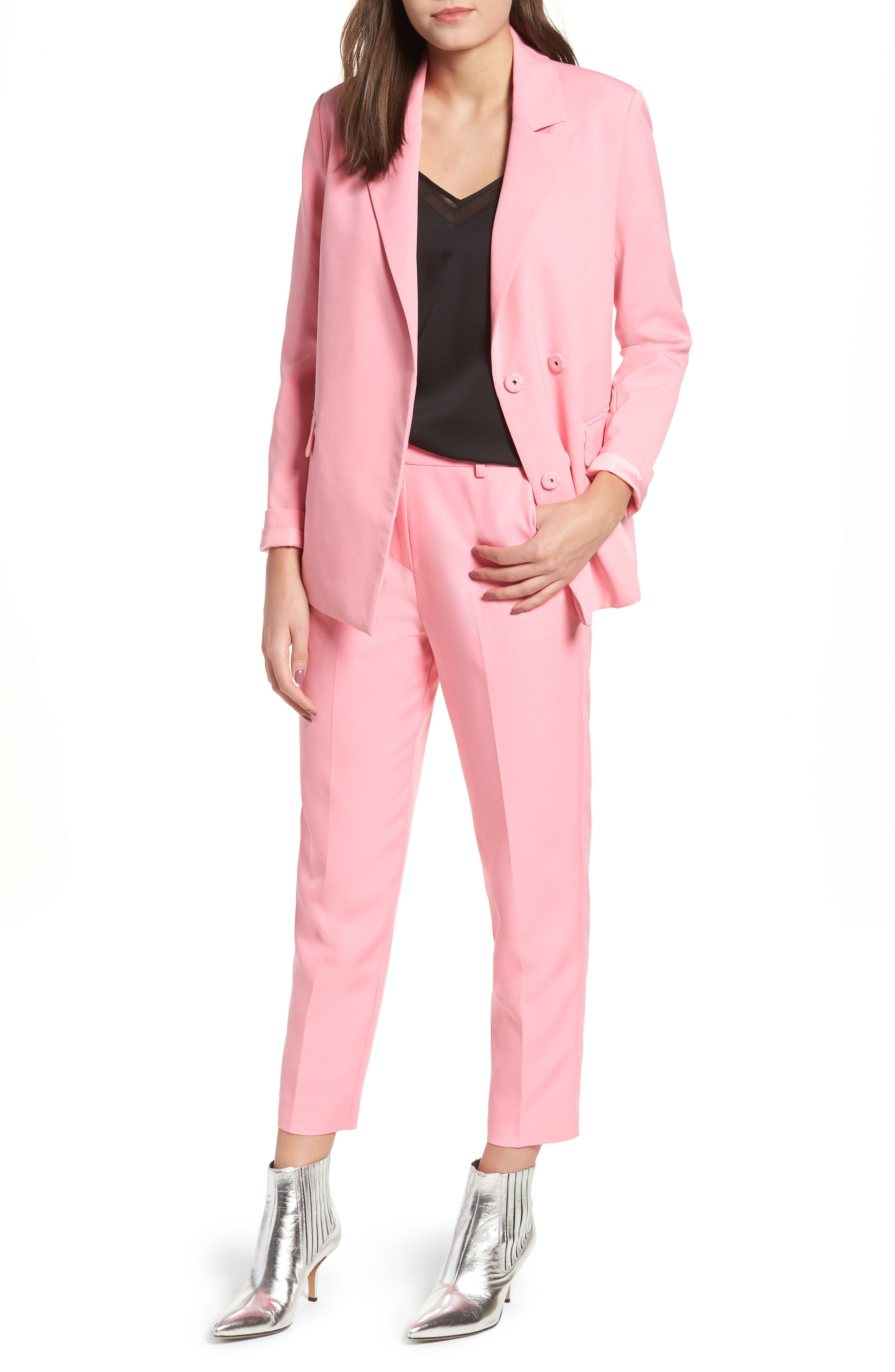 Peaked Lapel Jacket,                             Alternate thumbnail 7, color,                             CANDY PINK
