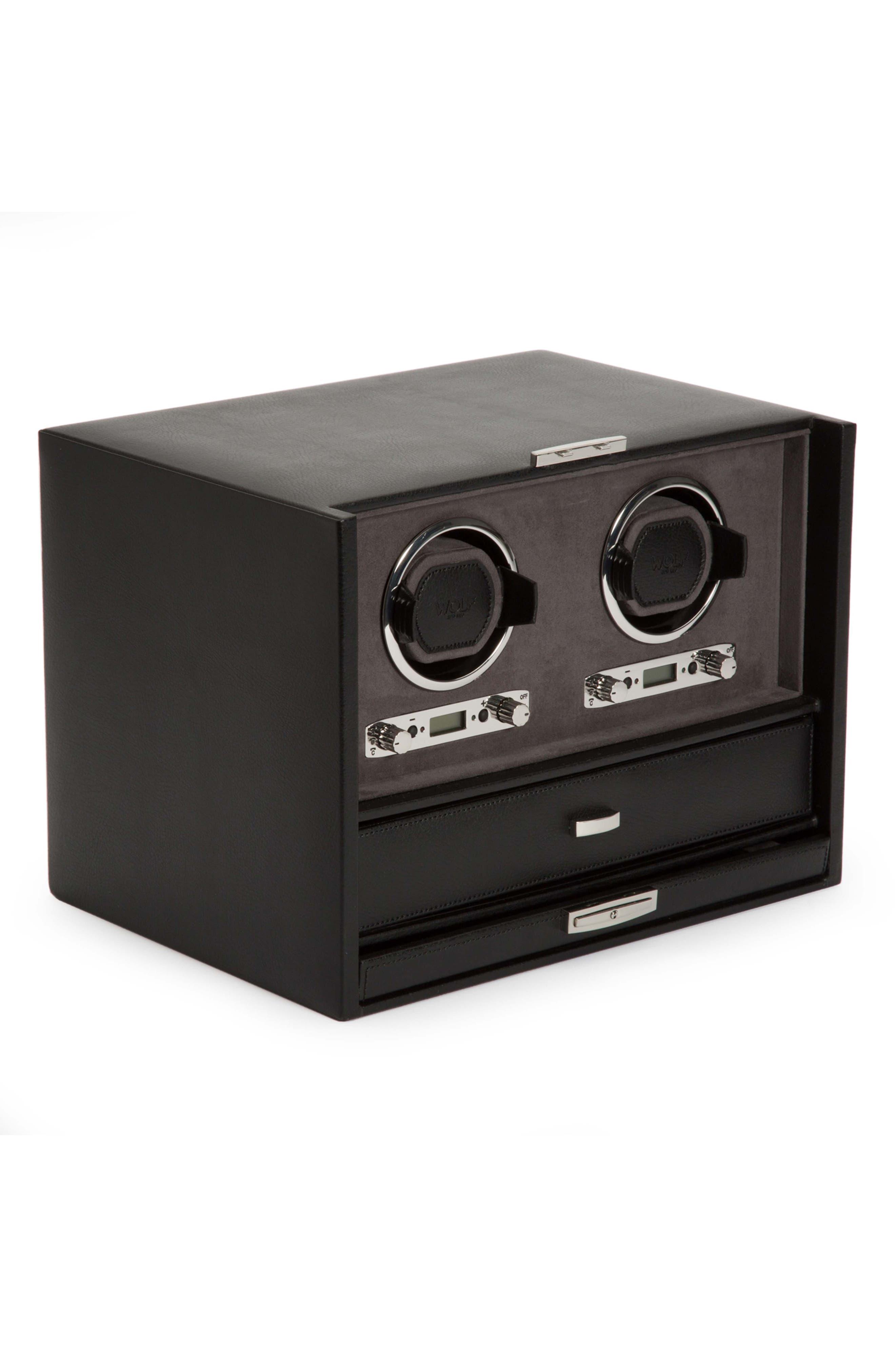 Blake Double Watch Winder Box,                             Alternate thumbnail 2, color,                             BLACK