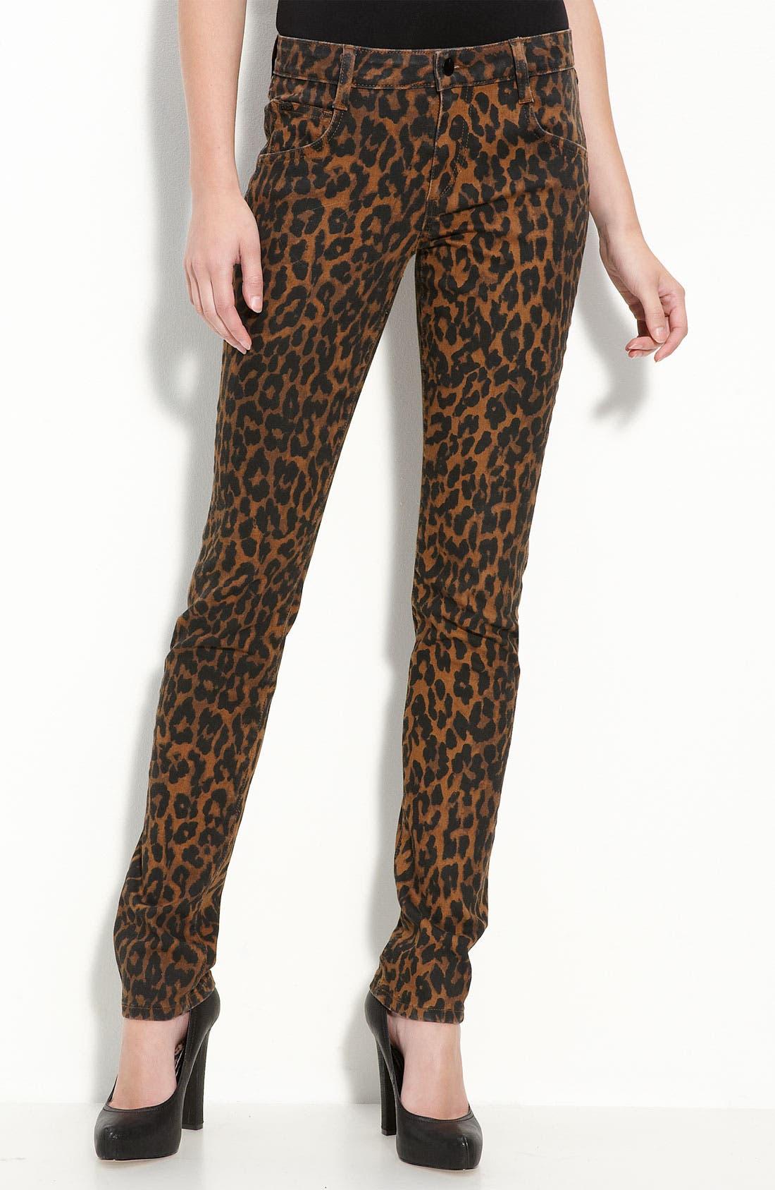 Leopard Print Skinny Stretch Denim Jeans,                             Alternate thumbnail 2, color,                             200