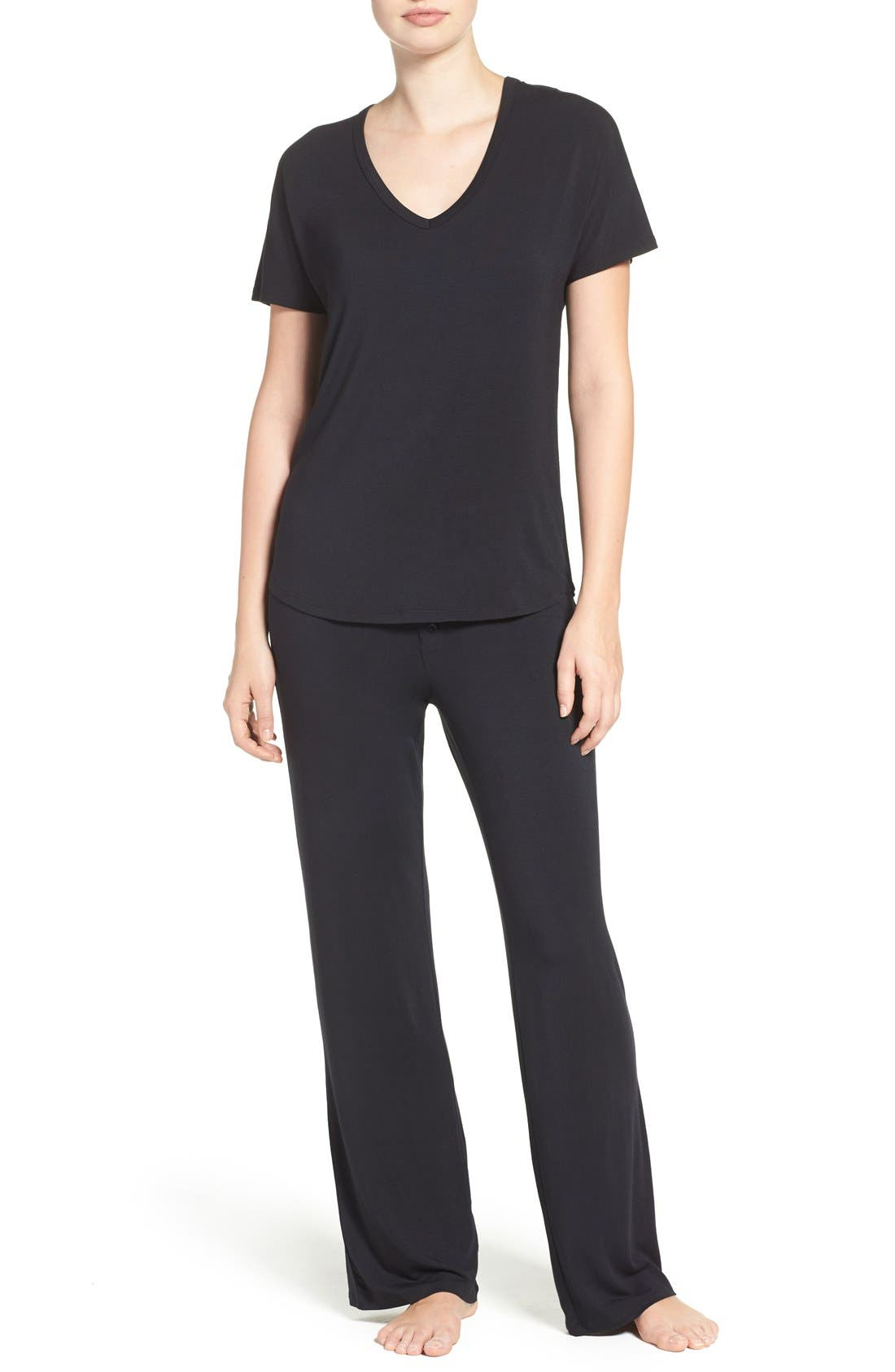 Jersey Pajama Pants,                             Alternate thumbnail 2, color,                             BLACK