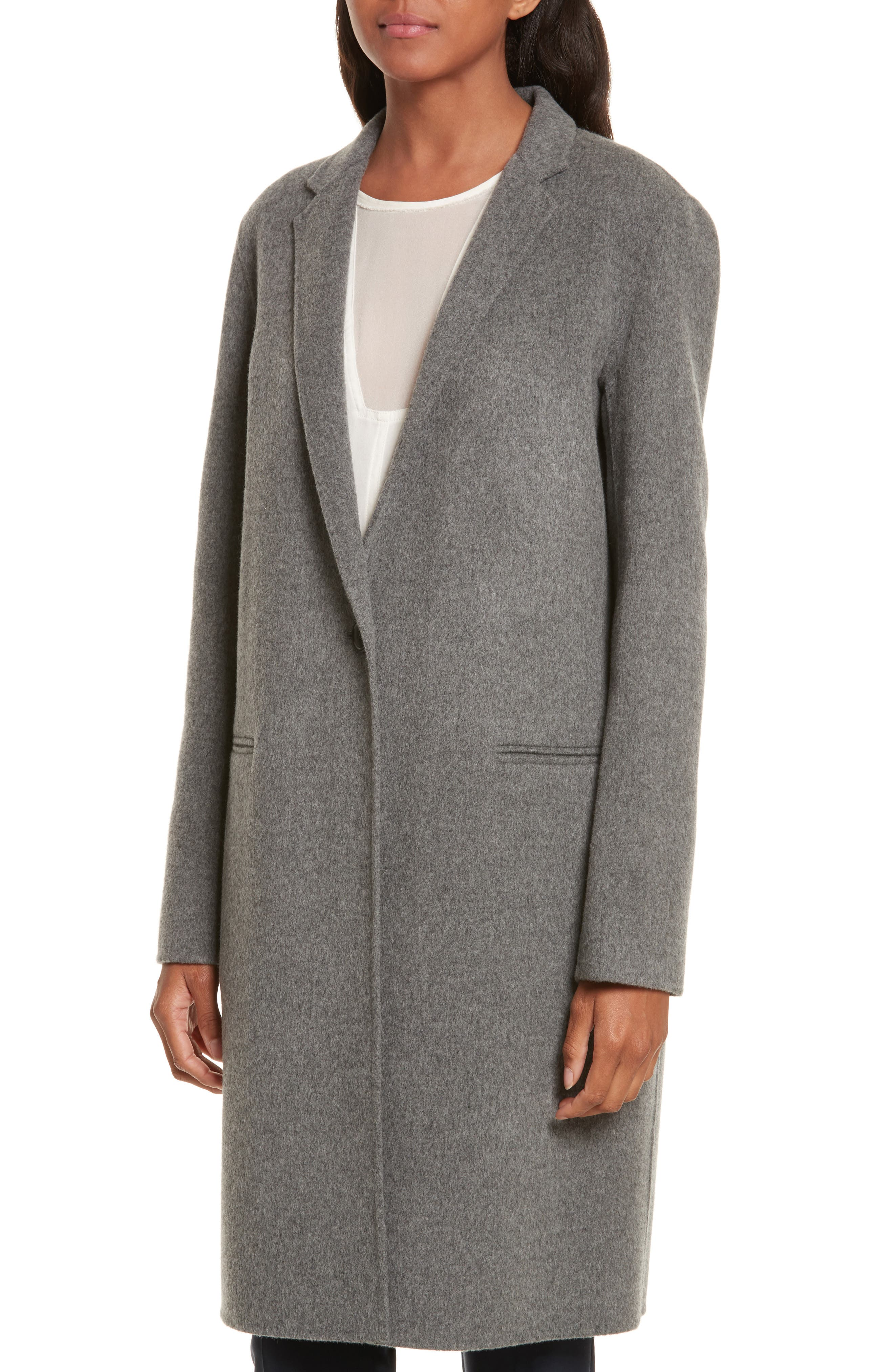 New Divide Wool & Cashmere Coat,                             Alternate thumbnail 4, color,                             021