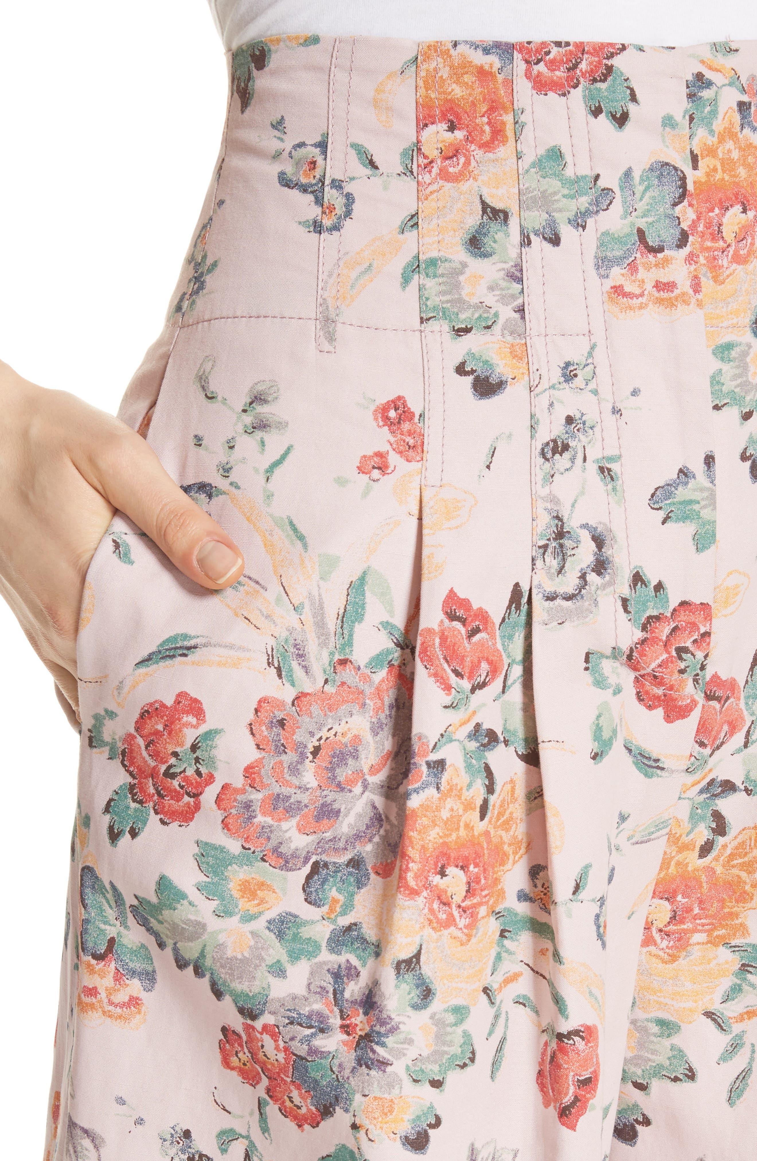 Marlena Floral Crop Pants,                             Alternate thumbnail 4, color,