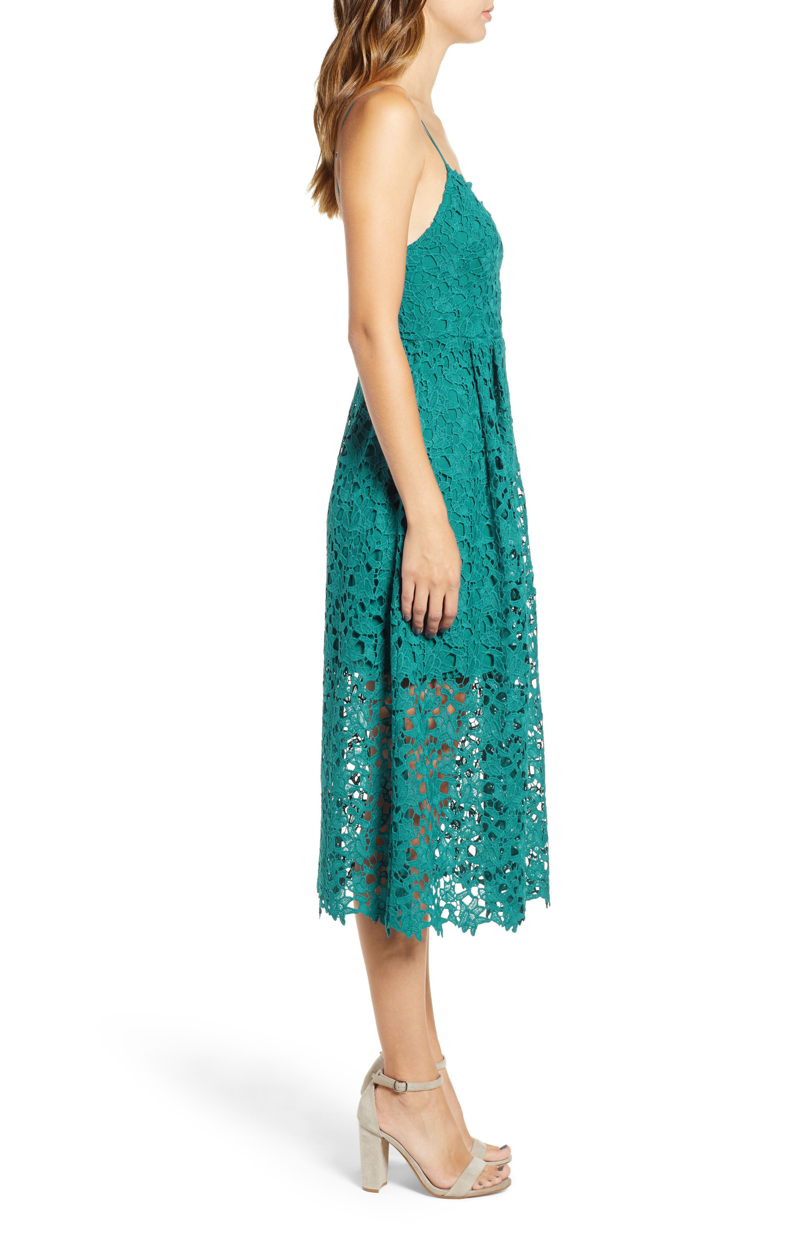 Lace Midi Dress,                             Alternate thumbnail 3, color,                             JADE GREEN