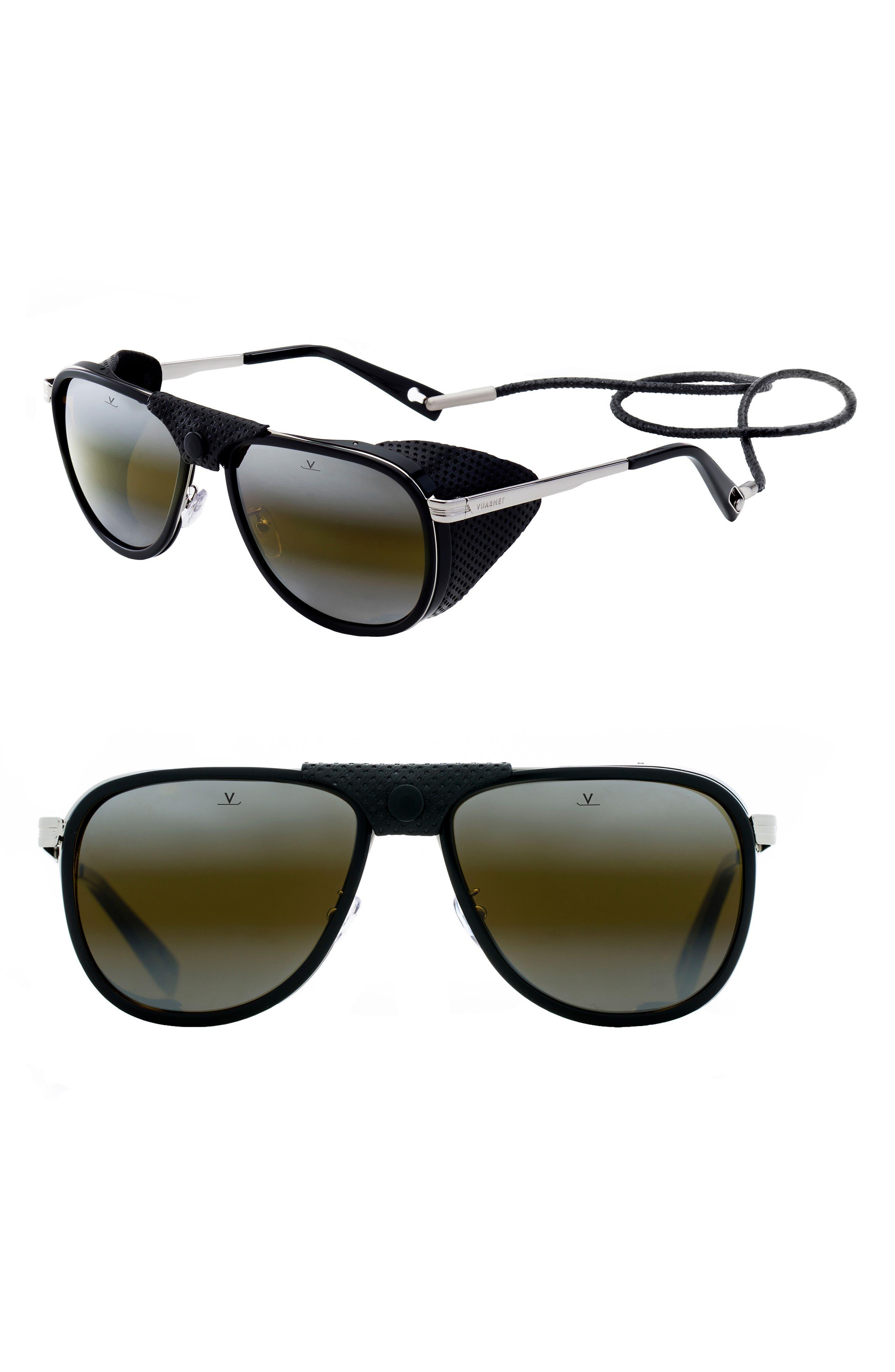 Glacier XL 61mm Polarized Sunglasses,                             Main thumbnail 1, color,                             BLACK/ SILVER/ BLACK